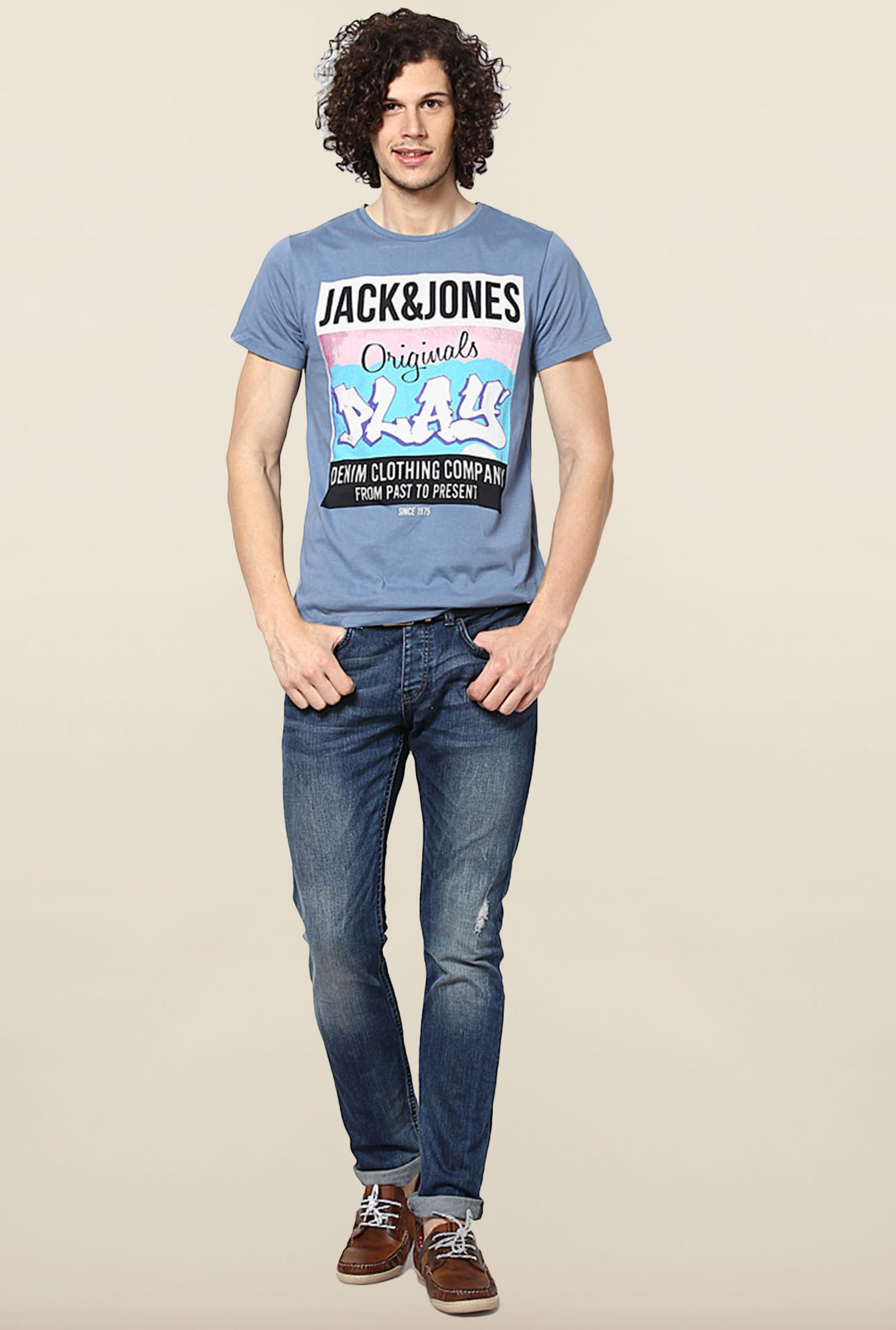 Jack & Jones Blue Cotton Printed T-Shirt