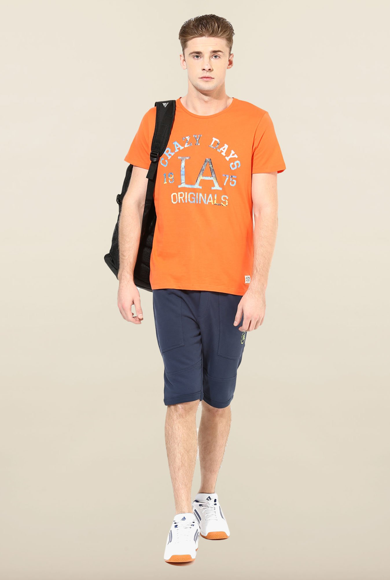 Jack & Jones Orange Printed T-Shirt