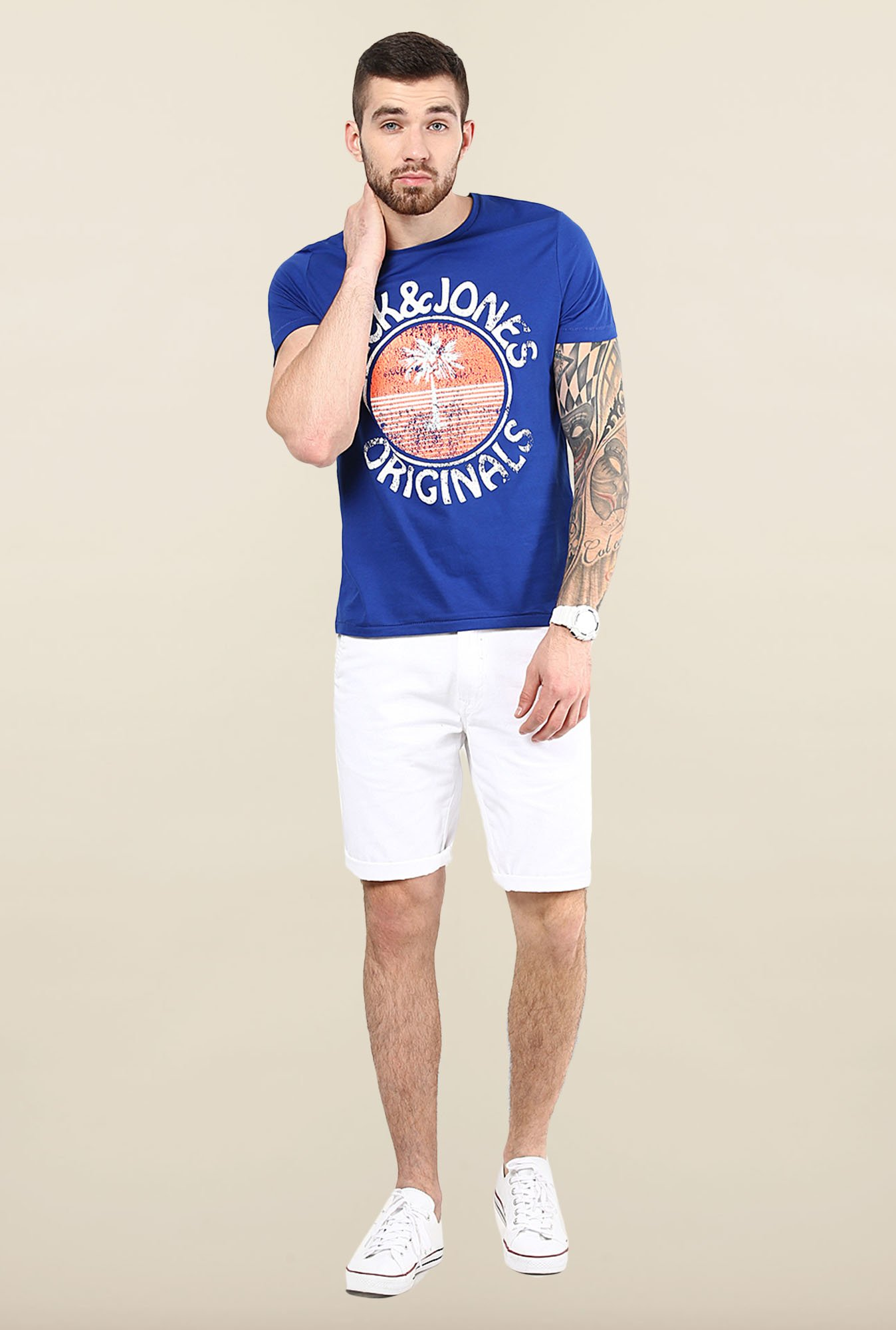 Jack & Jones Blue Printed Slim Fit T-Shirt