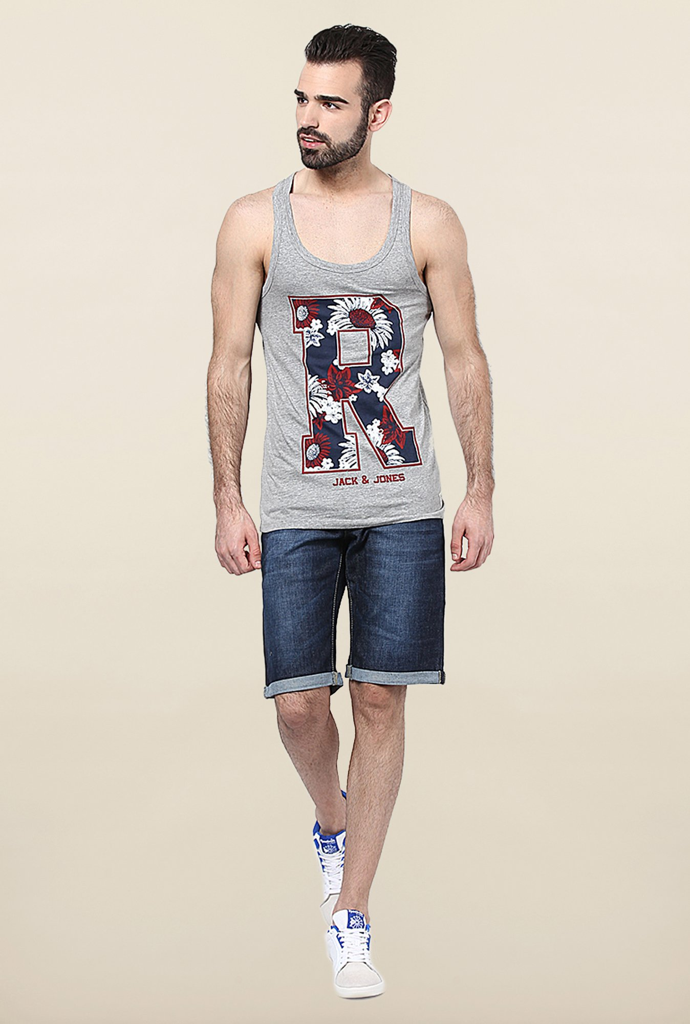 Jack & Jones Light Grey Printed Vest