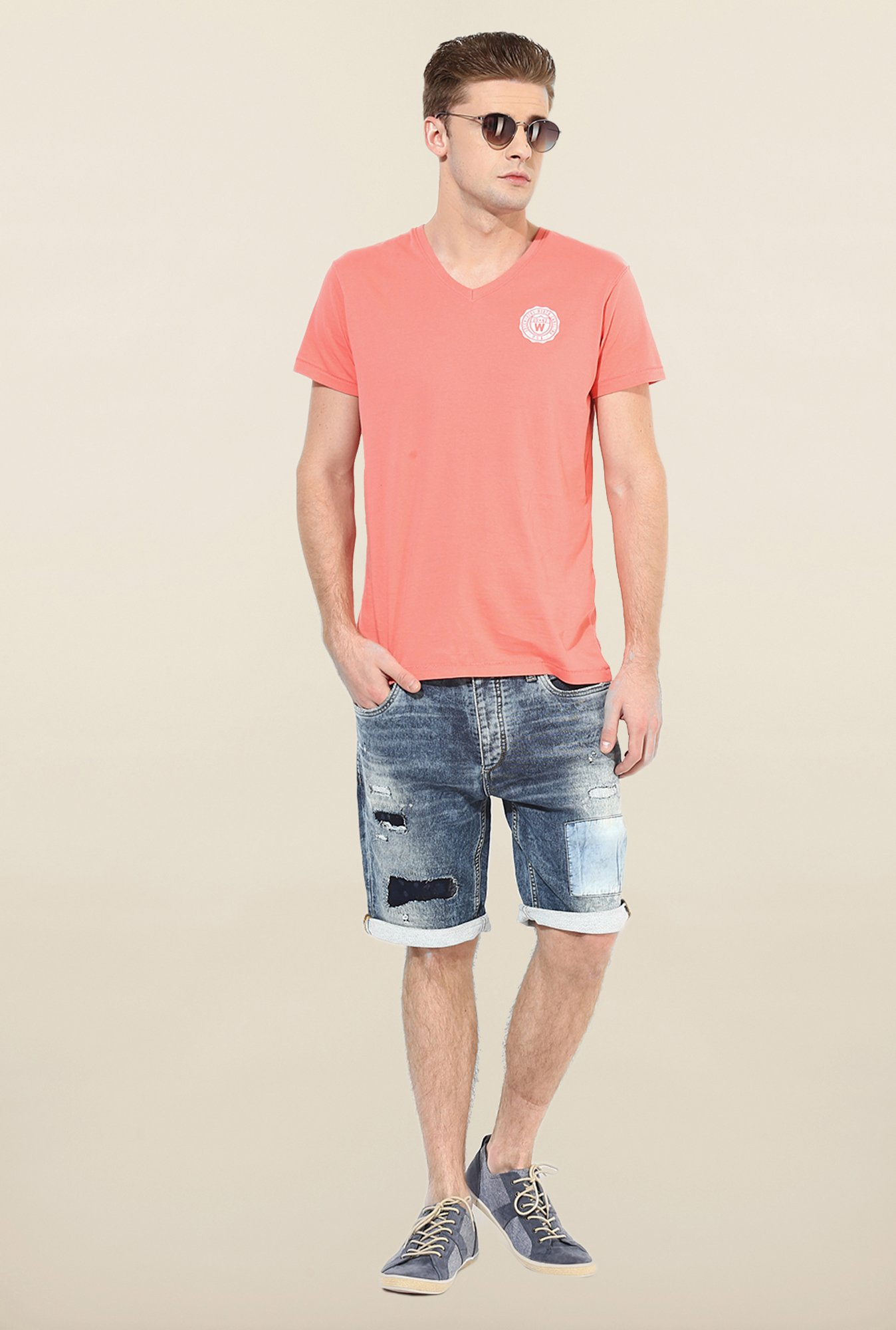 Jack & Jones Blue Distressed Shorts