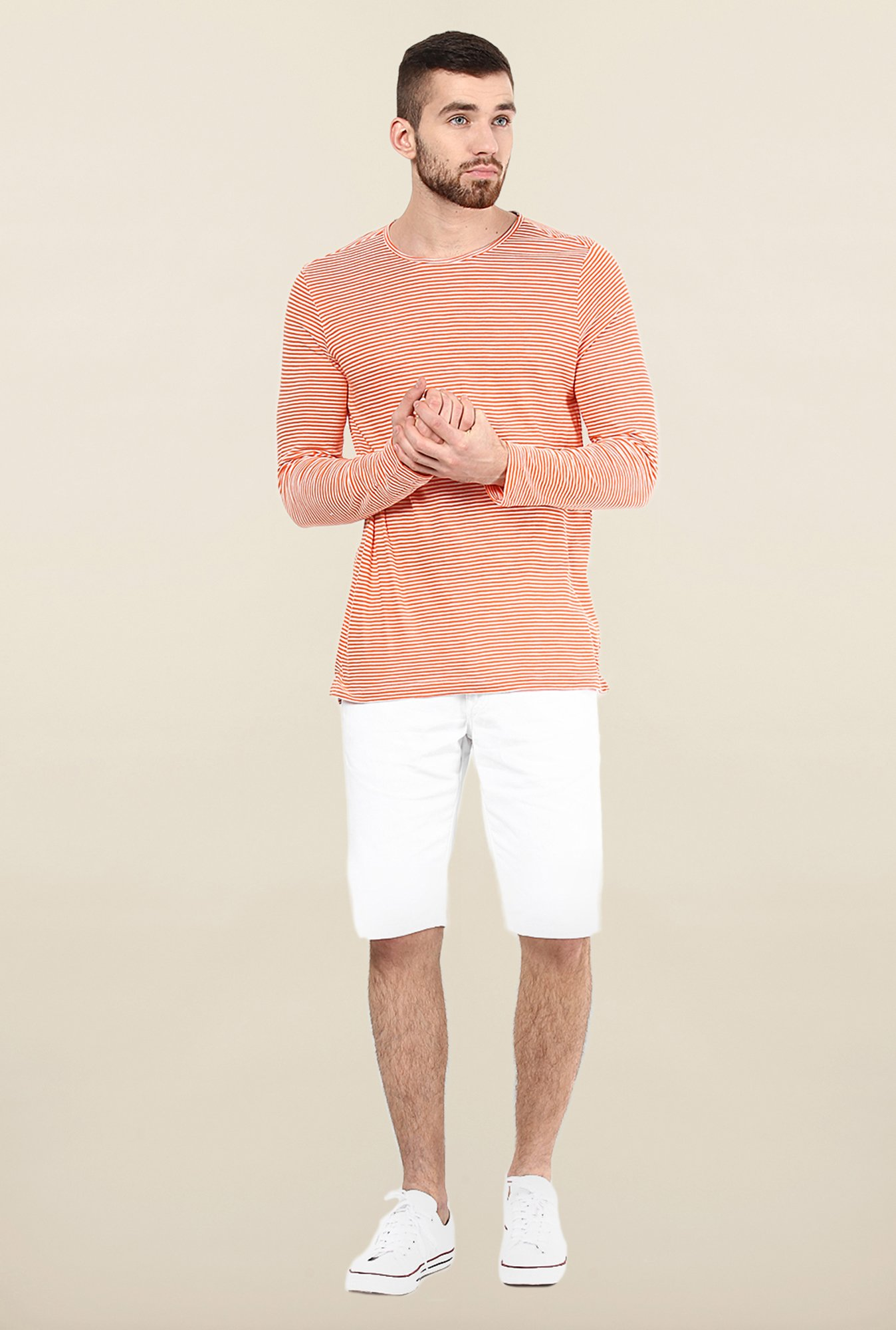 Jack & Jones Orange & White Striped T-Shirt