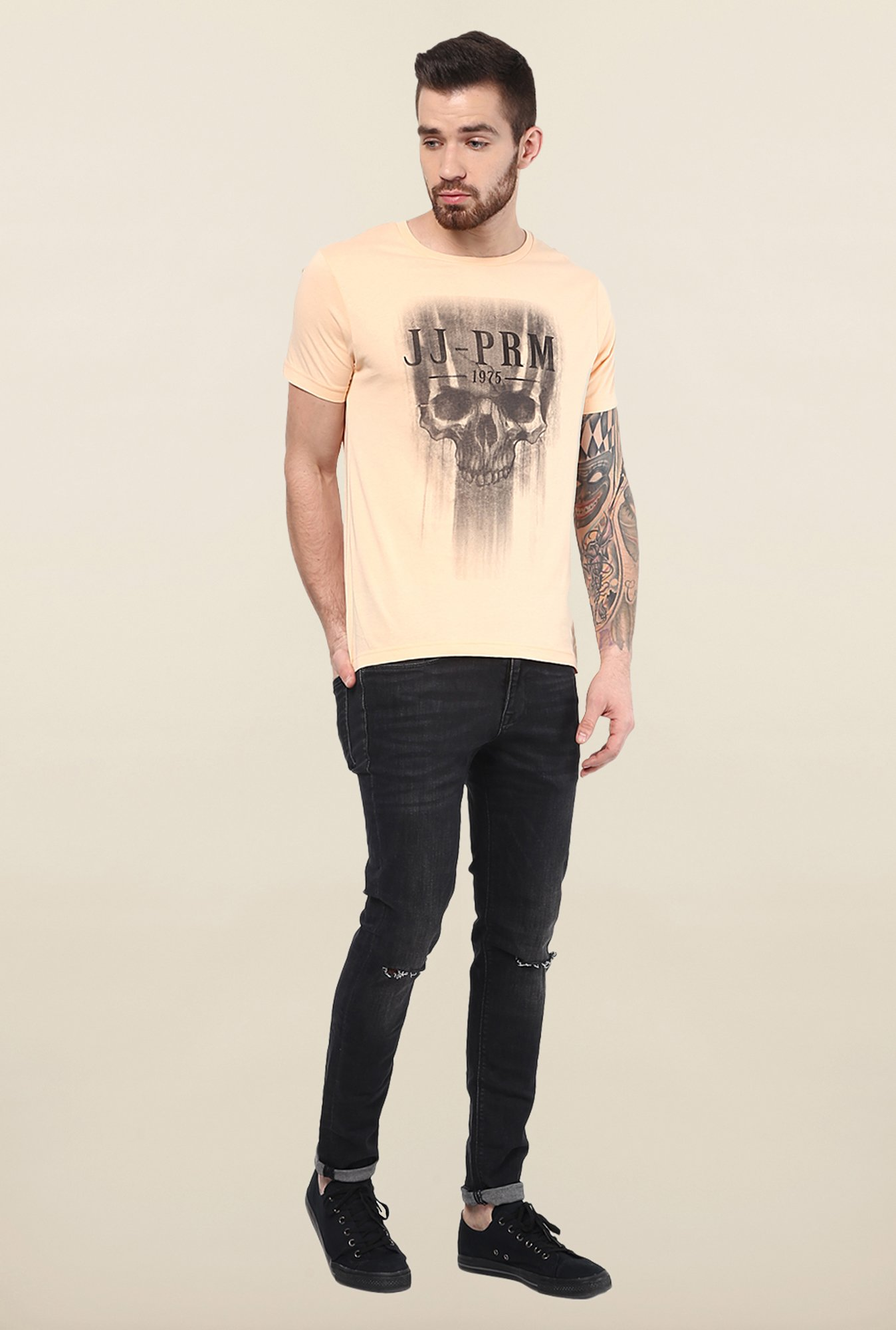 Jack & Jones Beige Round Neck T-Shirt