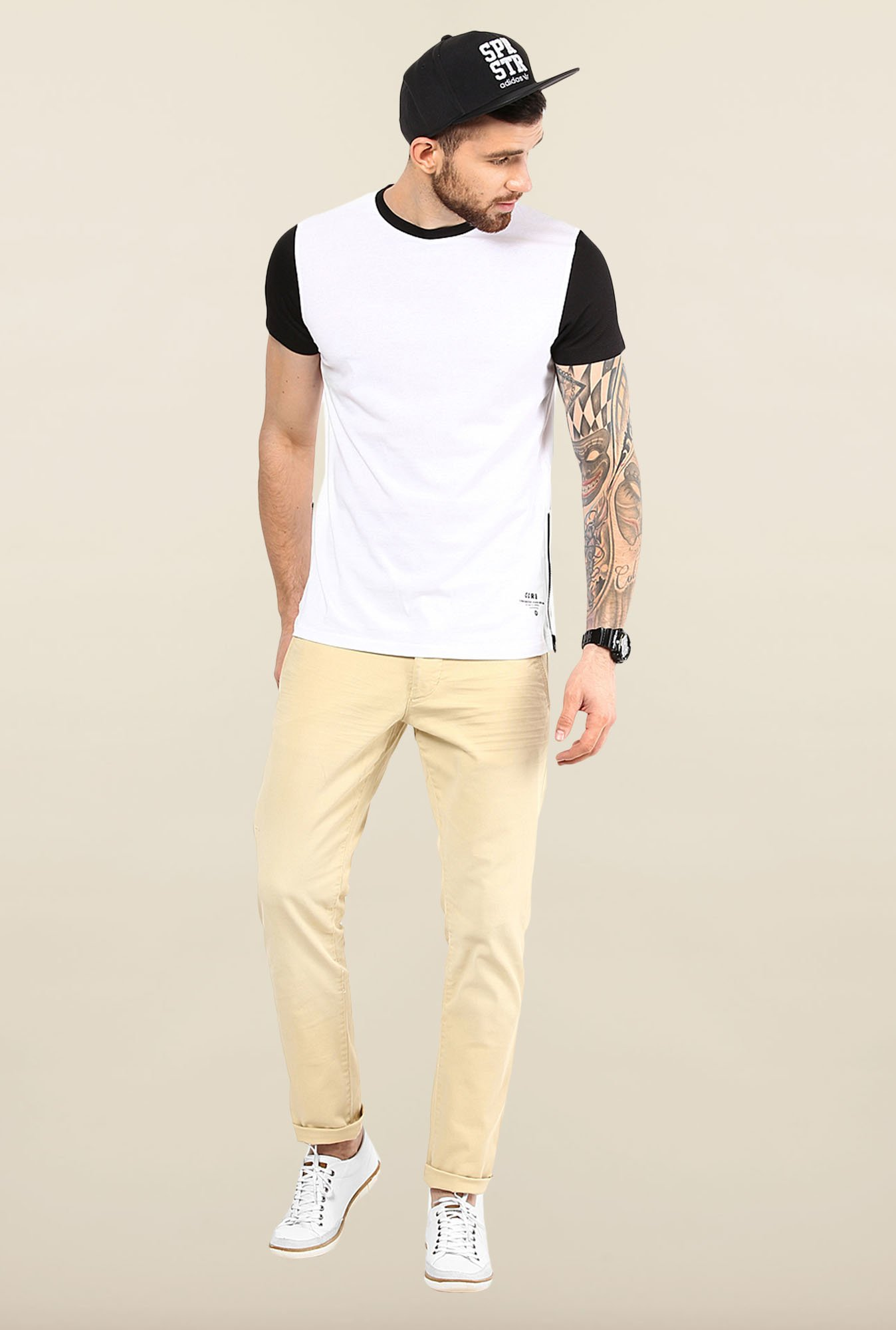 Jack & Jones White Solid Crew Neck T-Shirt