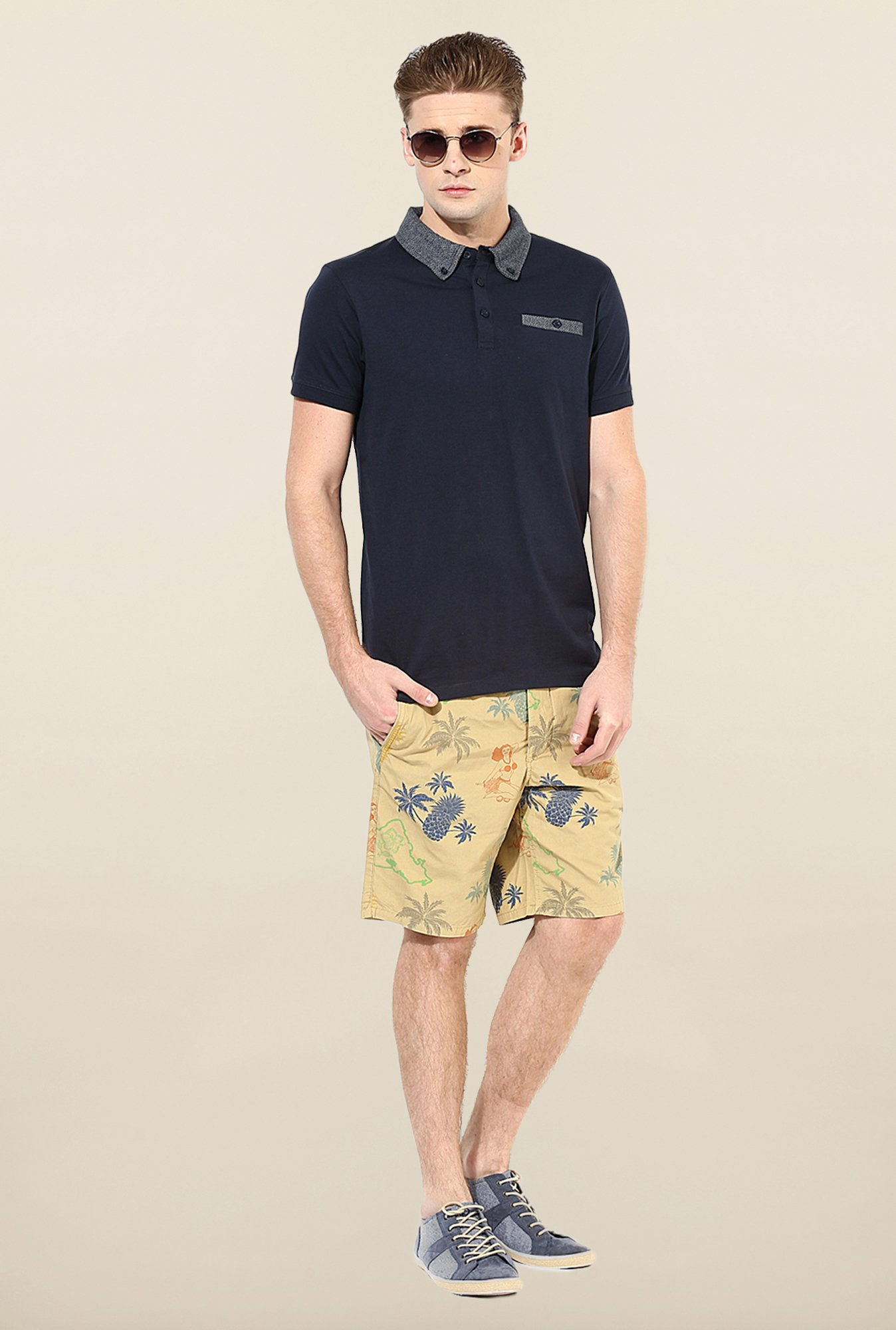 Jack & Jones Navy Solid Polo T-Shirt