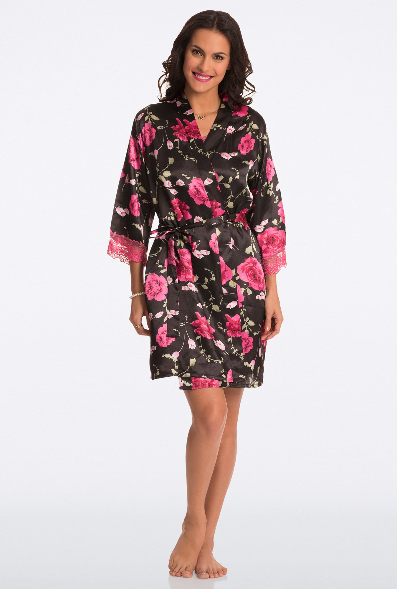 Pretty Secrets Black Floral Print Robe