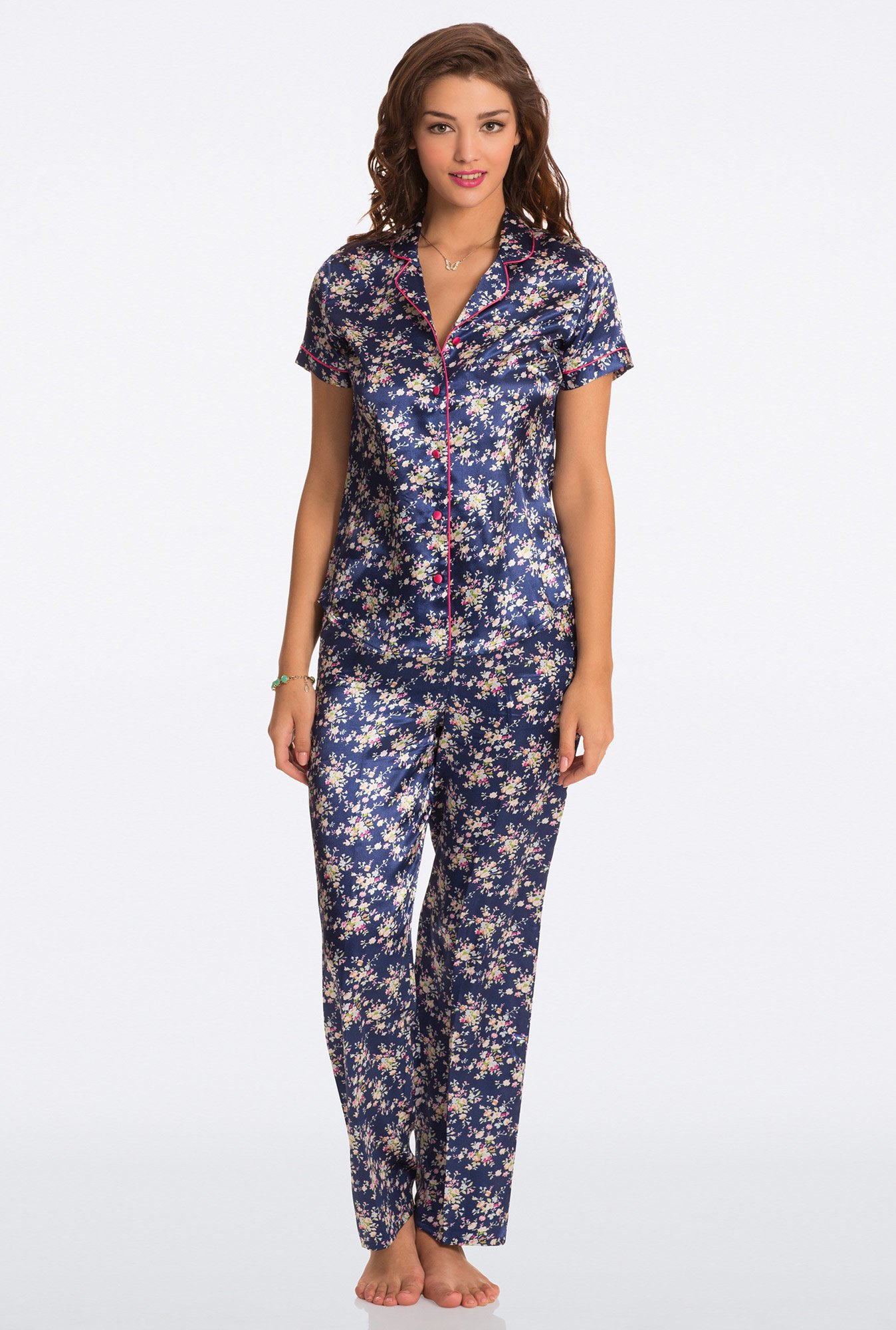 Pretty Secrets Blue Floral Print Top & Pyjama Set