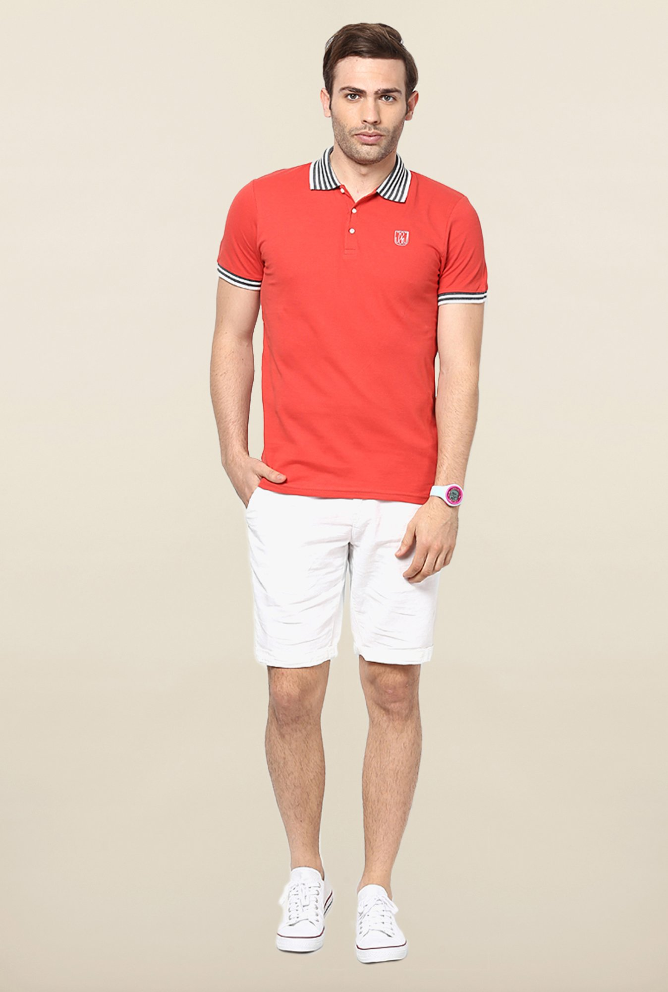 Jack & Jones Red Solid Polo T-Shirt