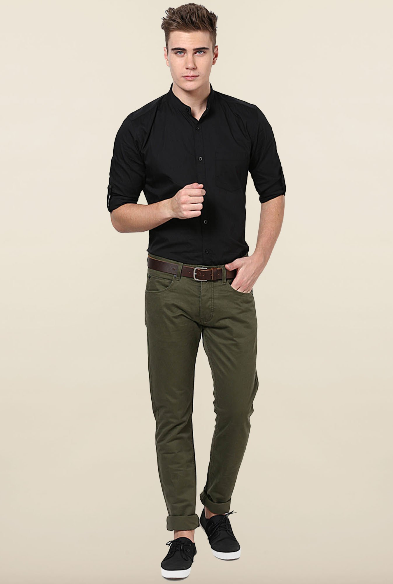 Jack & Jones Green Solid Chinos