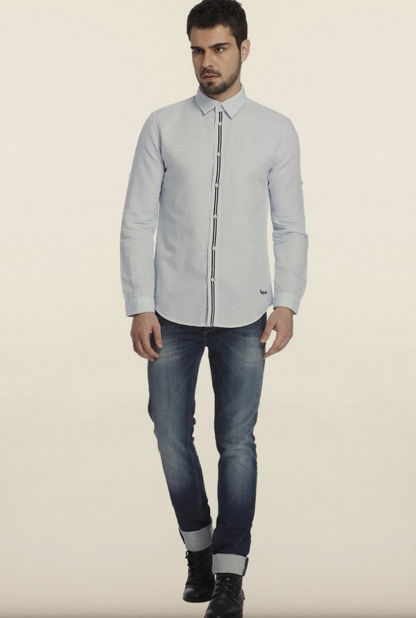 Jack & Jones Sky Blue Solid Casual Shirt