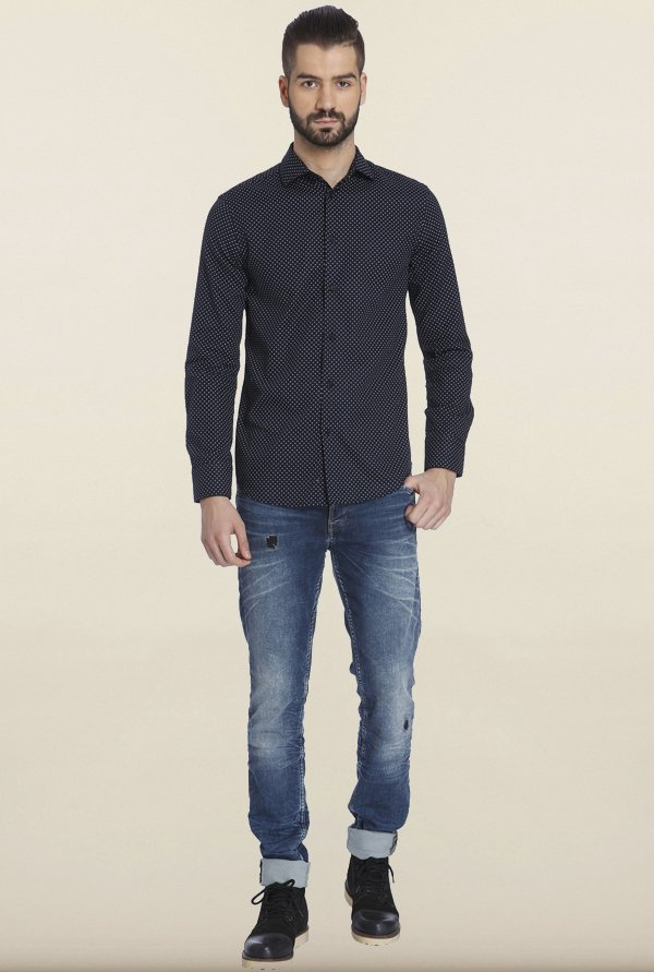 Jack & Jones Navy Dot Print Cotton Casual Shirt