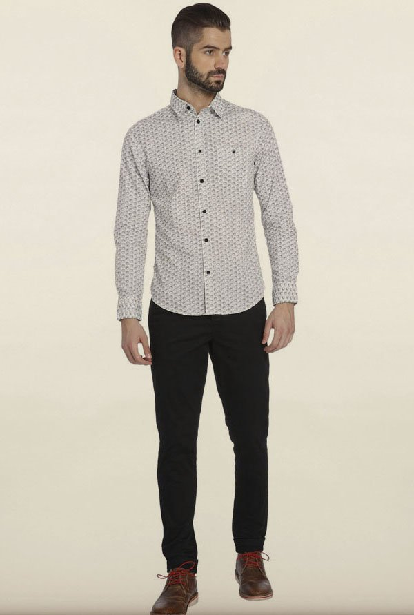 Jack & Jones White Printed Cotton Casual Shirt