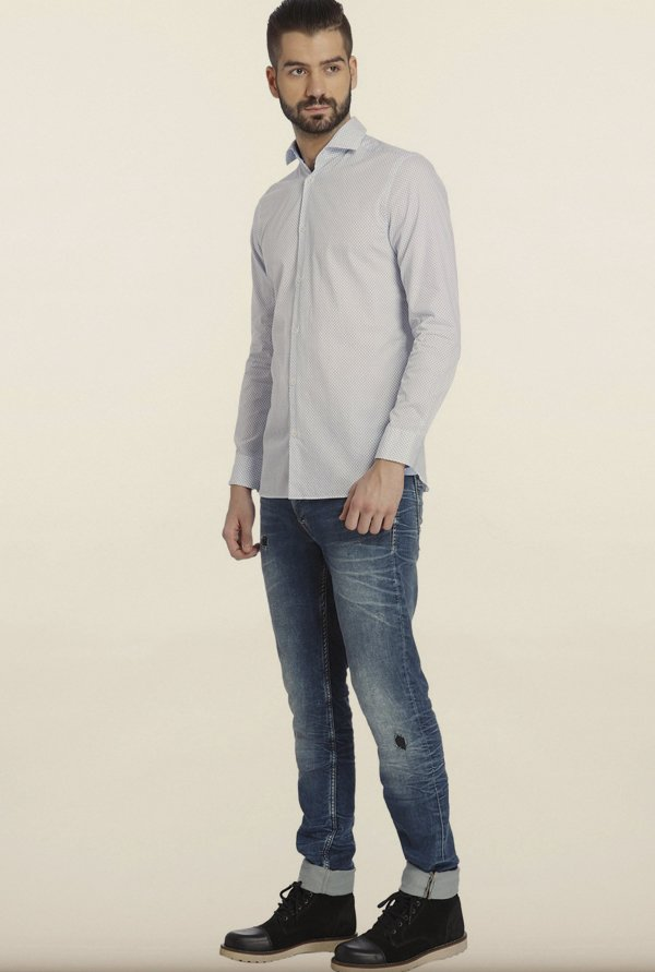 Jack & Jones White Dot Print Casual Shirt