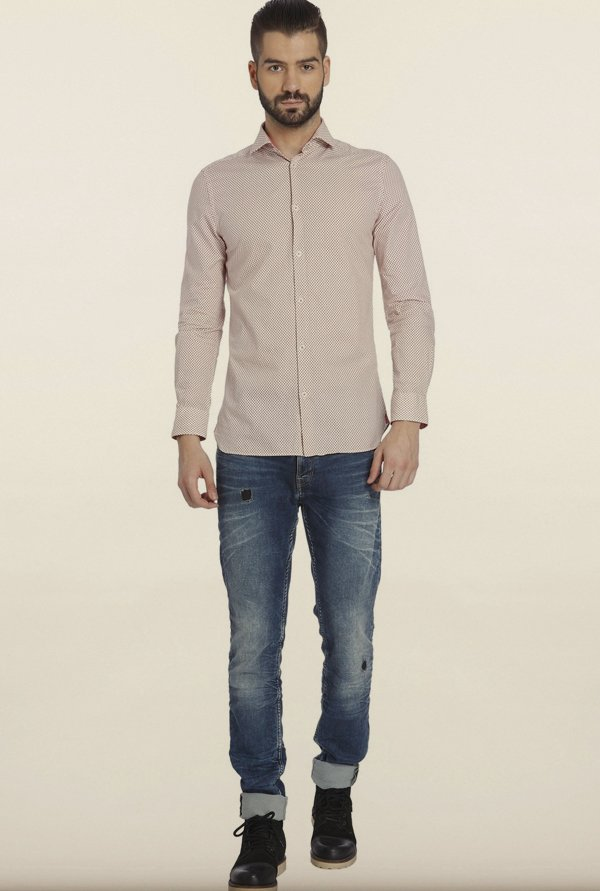 Jack & Jones Pink Polka Dot Casual Shirt