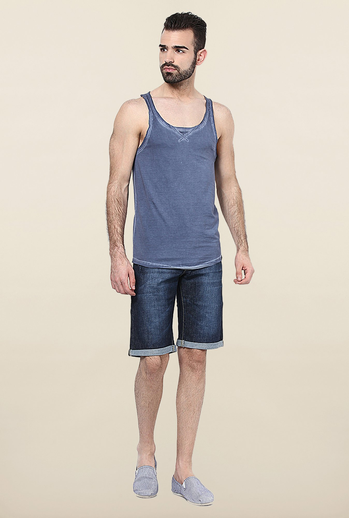 Jack & Jones Blue Solid Sleeveless Vest