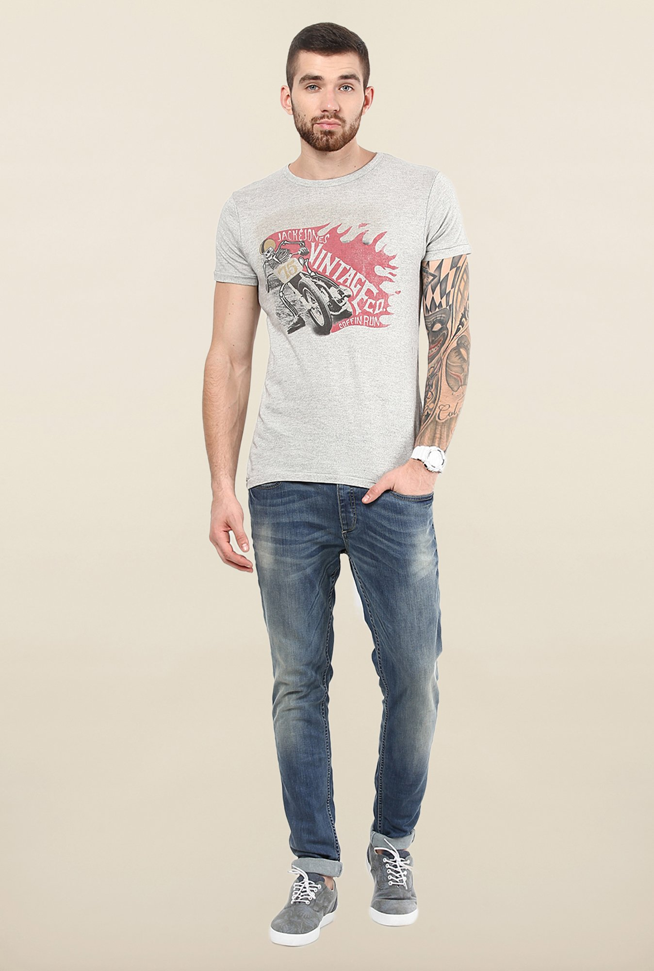 Jack & Jones Light Grey Crew Neck T-Shirt