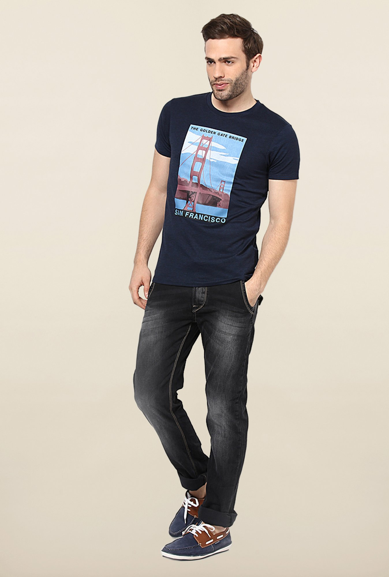 Jack & Jones Navy Printed Crew Neck T-Shirt