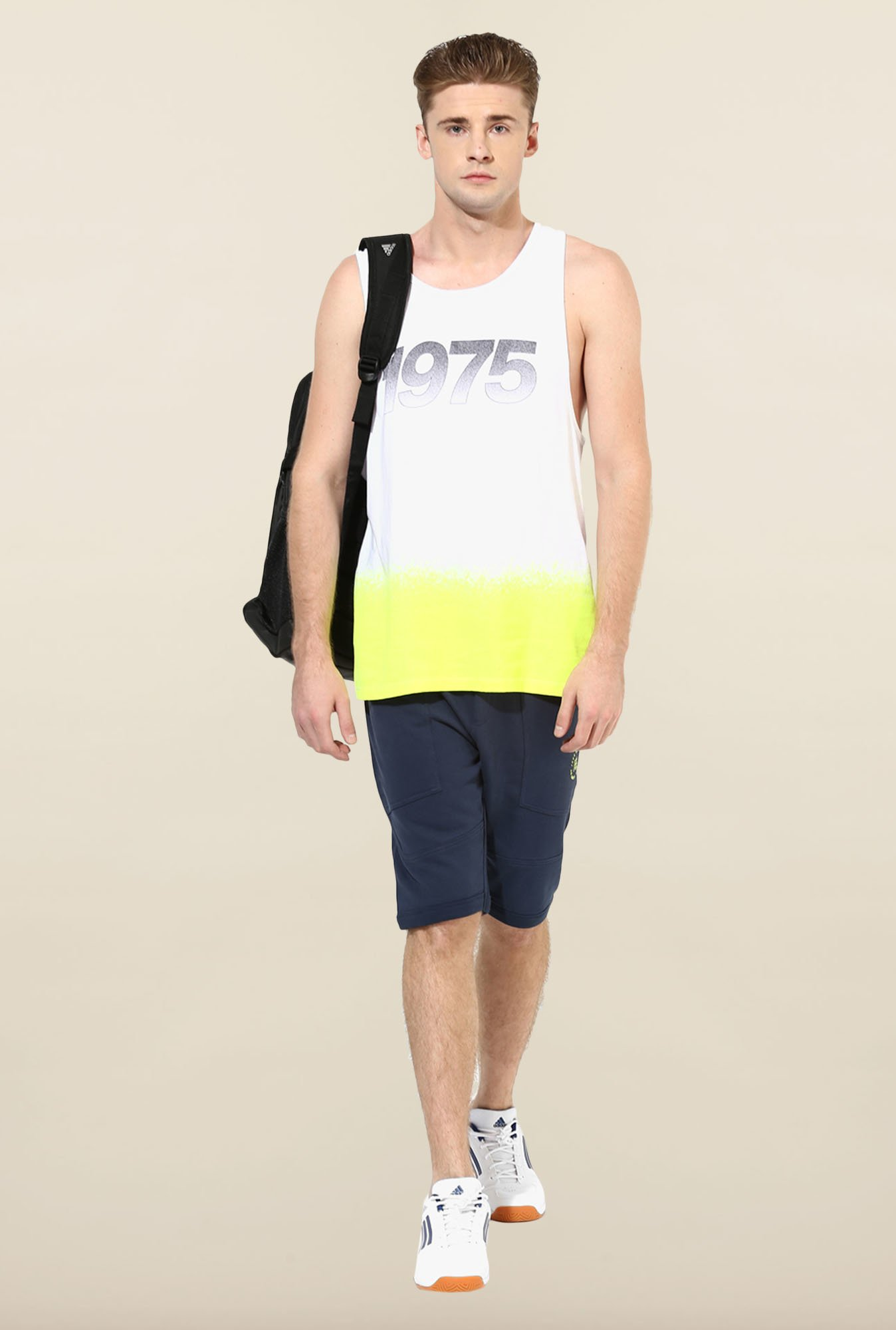 Jack & Jones White & Yellow Printed Vest