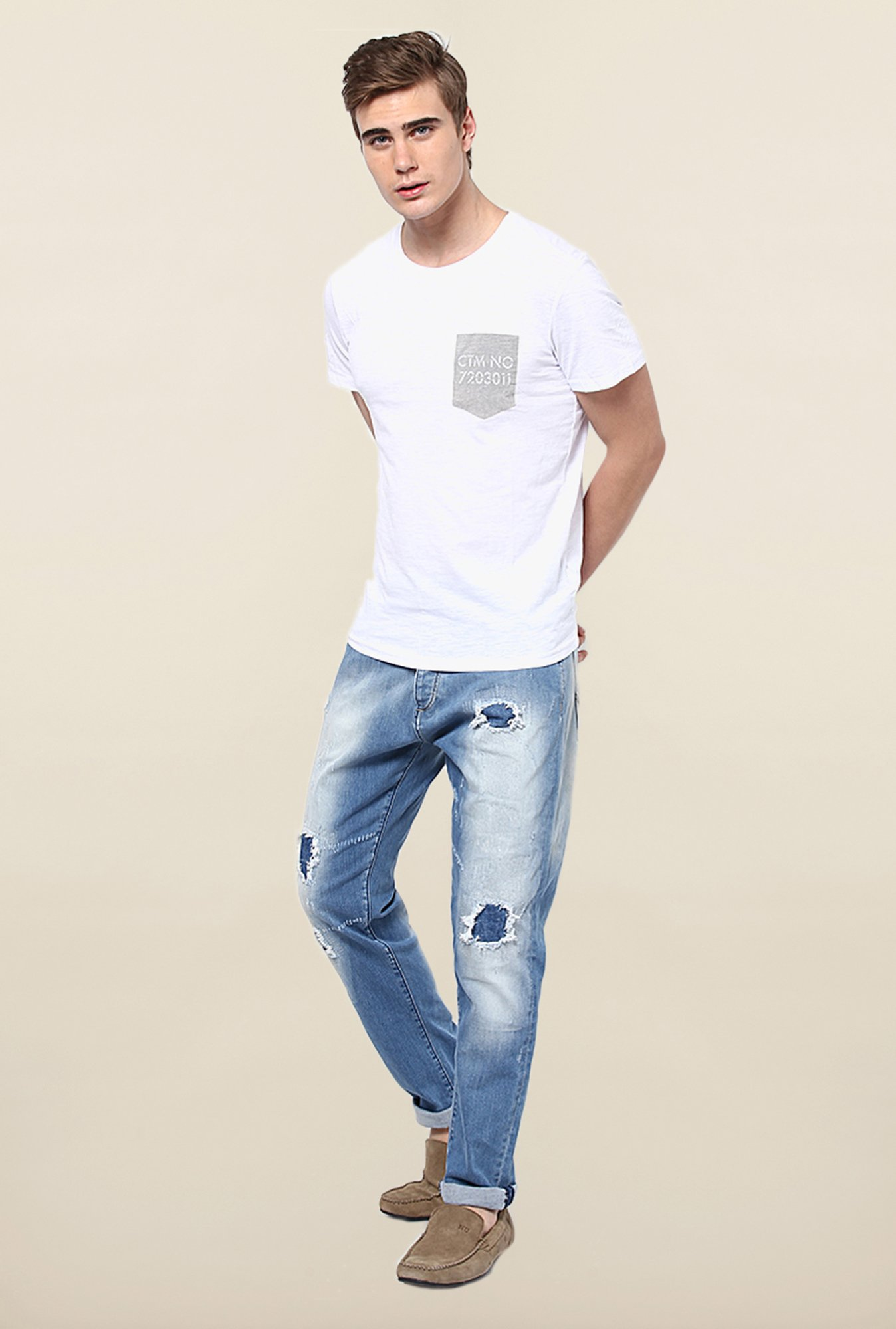 Jack & Jones Blue Distressed Jeans