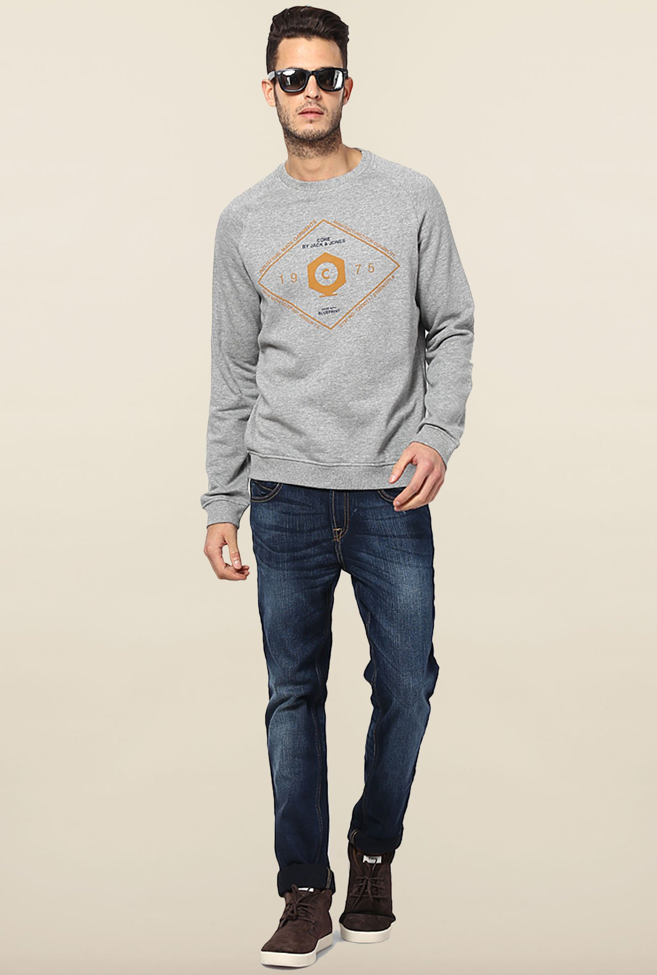 Jack & Jones Light Grey Crew Neck Sweatshirt