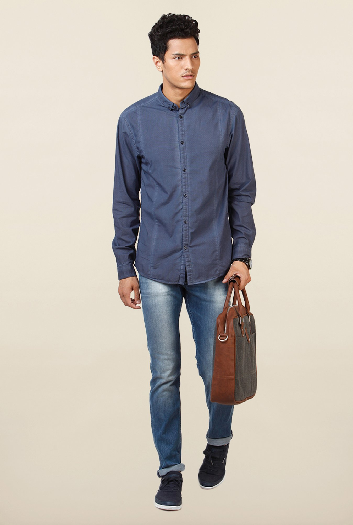 Jack & Jones Blue Self Printed Casual Shirt
