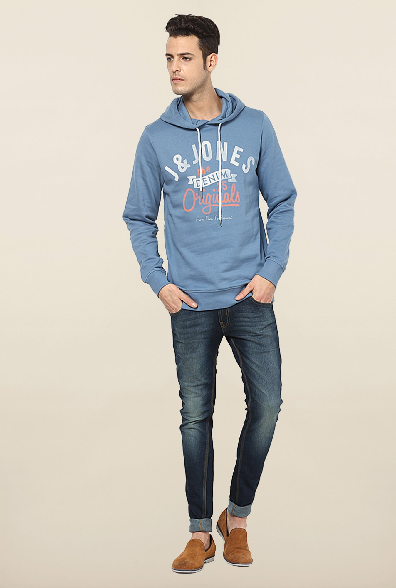 Jack & Jones Light Blue Printed Hoodie