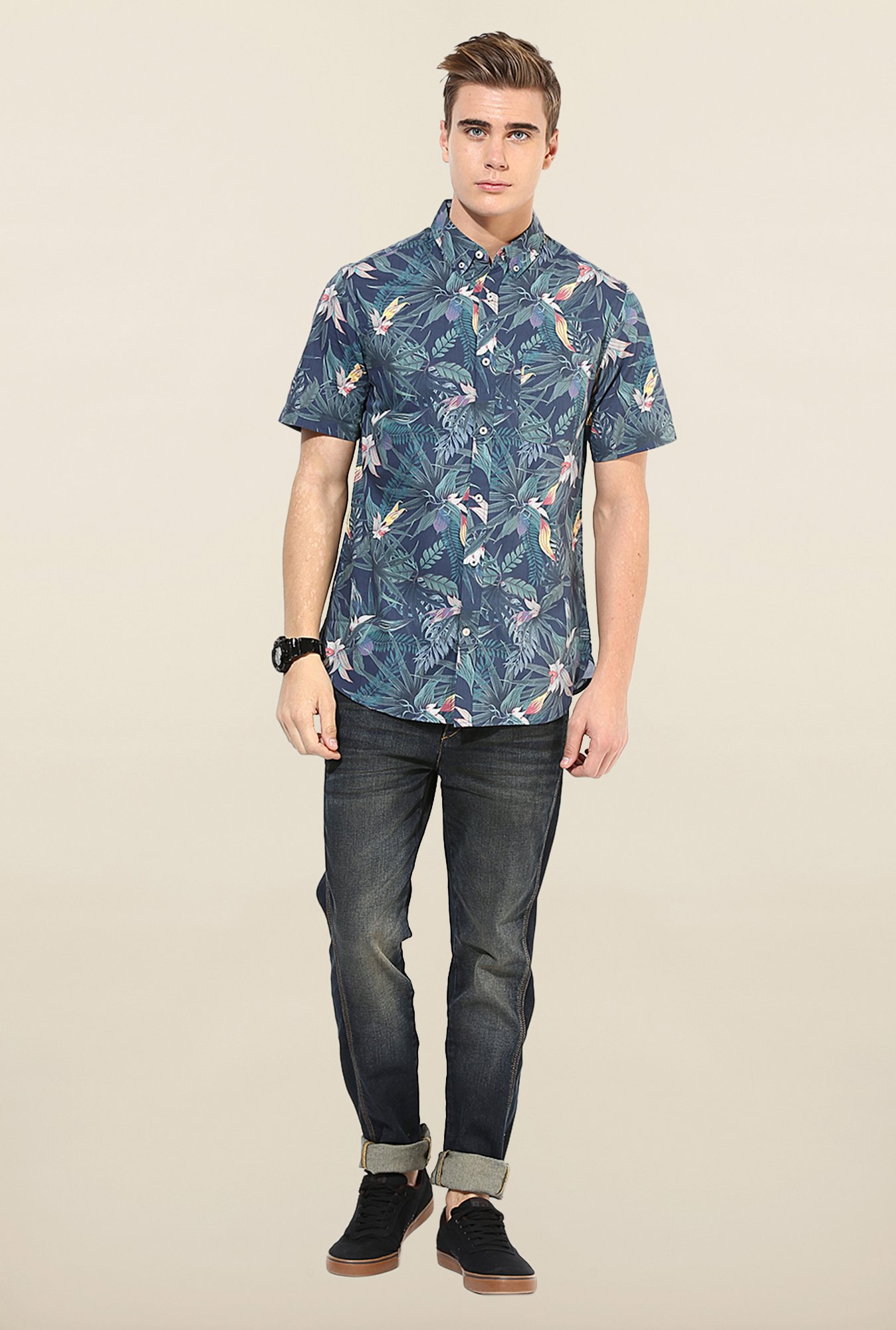 Jack & Jones Navy Floral Printed Shirt