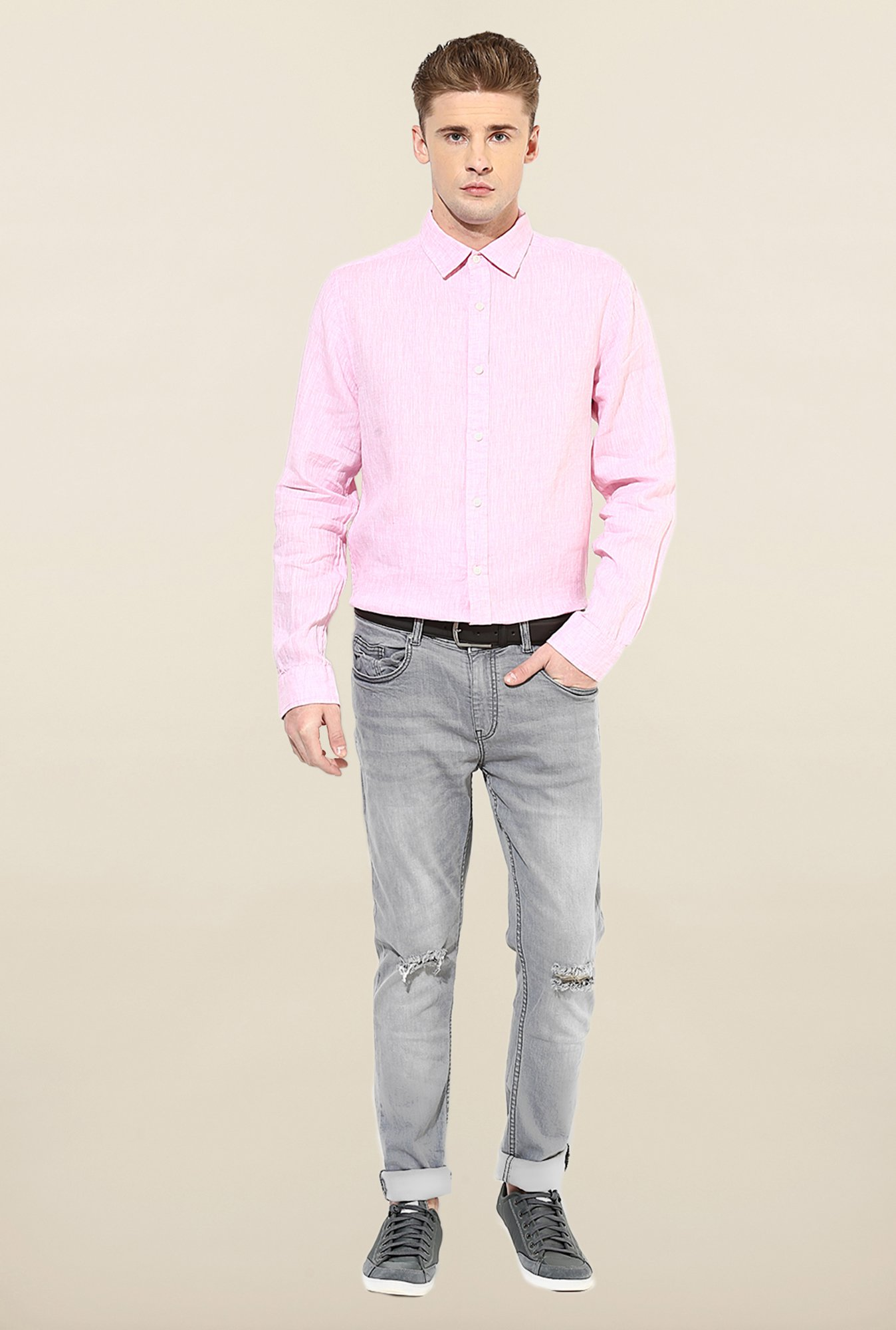 Jack & Jones Pink Solid Casual Shirt