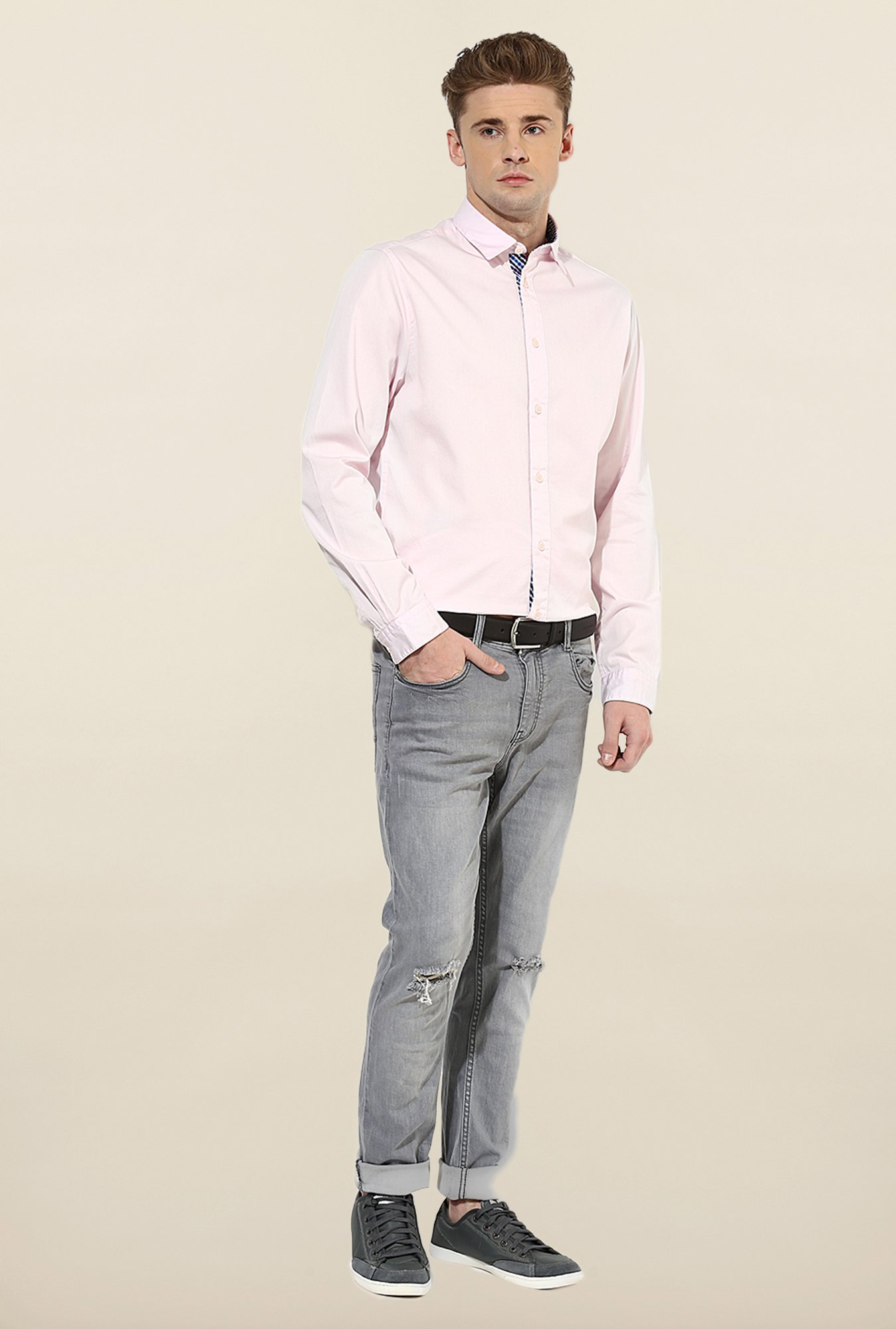 Jack & Jones Pink Solid Cotton Casual Shirt