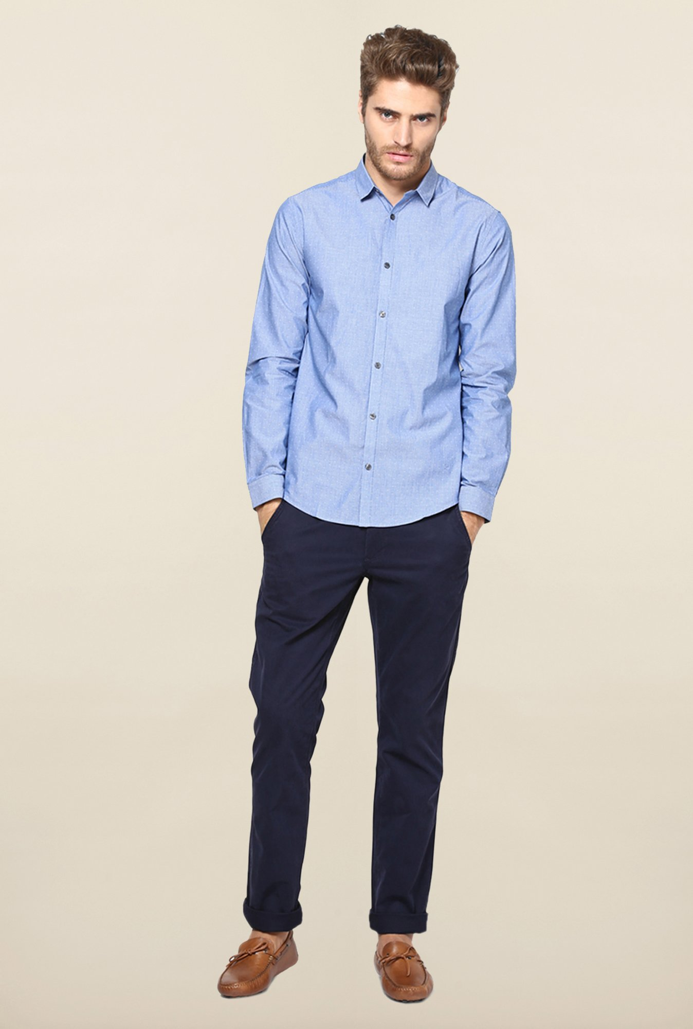 Jack & Jones Blue Pin Stripes Casual Shirt