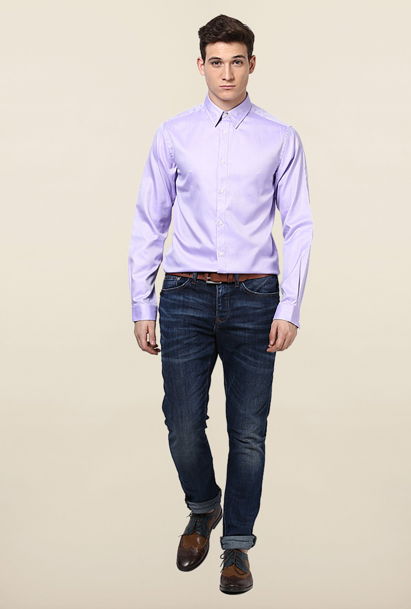 Jack & Jones Violet Self Printed Casual Shirt