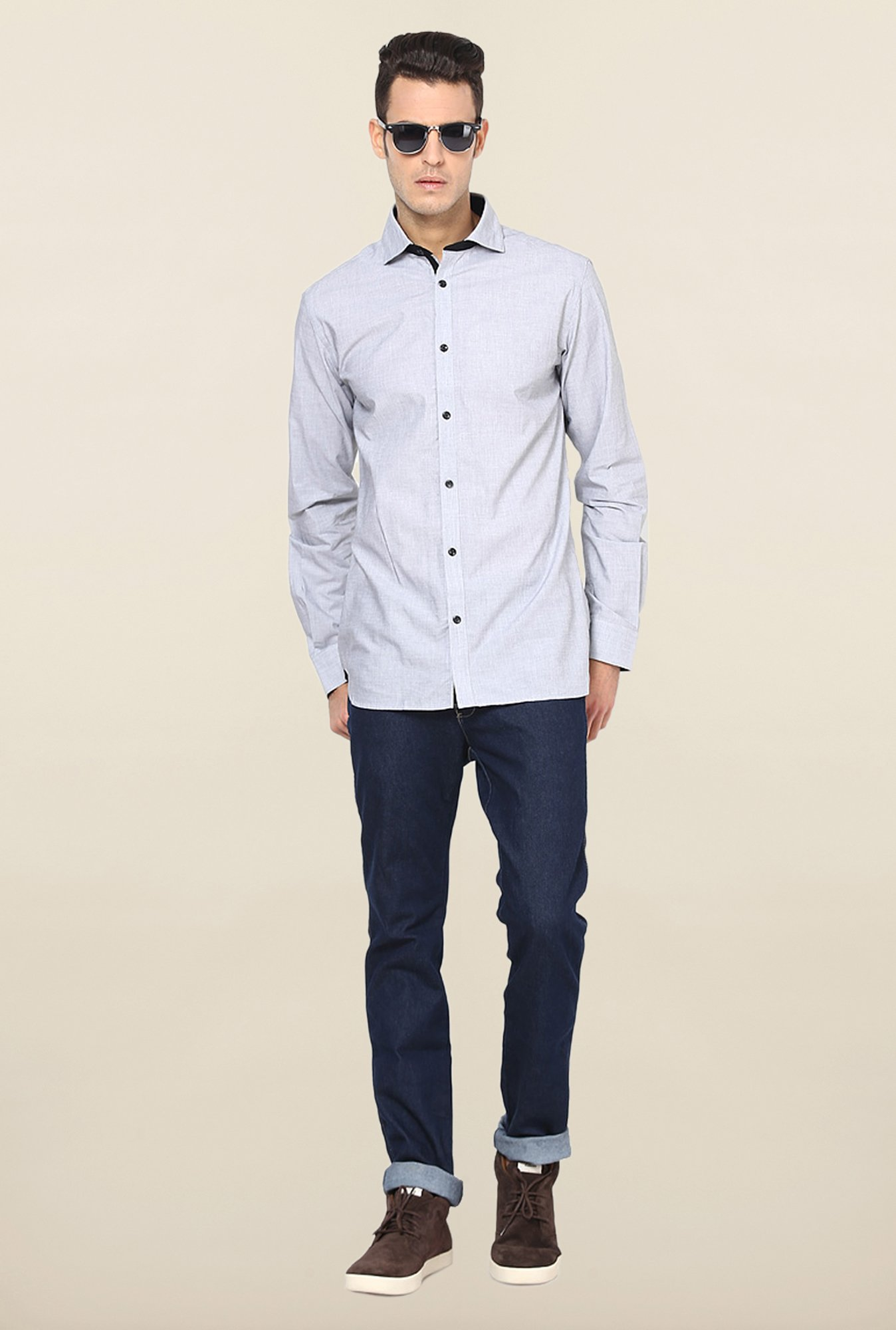 Jack & Jones Blue Solid Slim Fit Cotton Casual Shirt