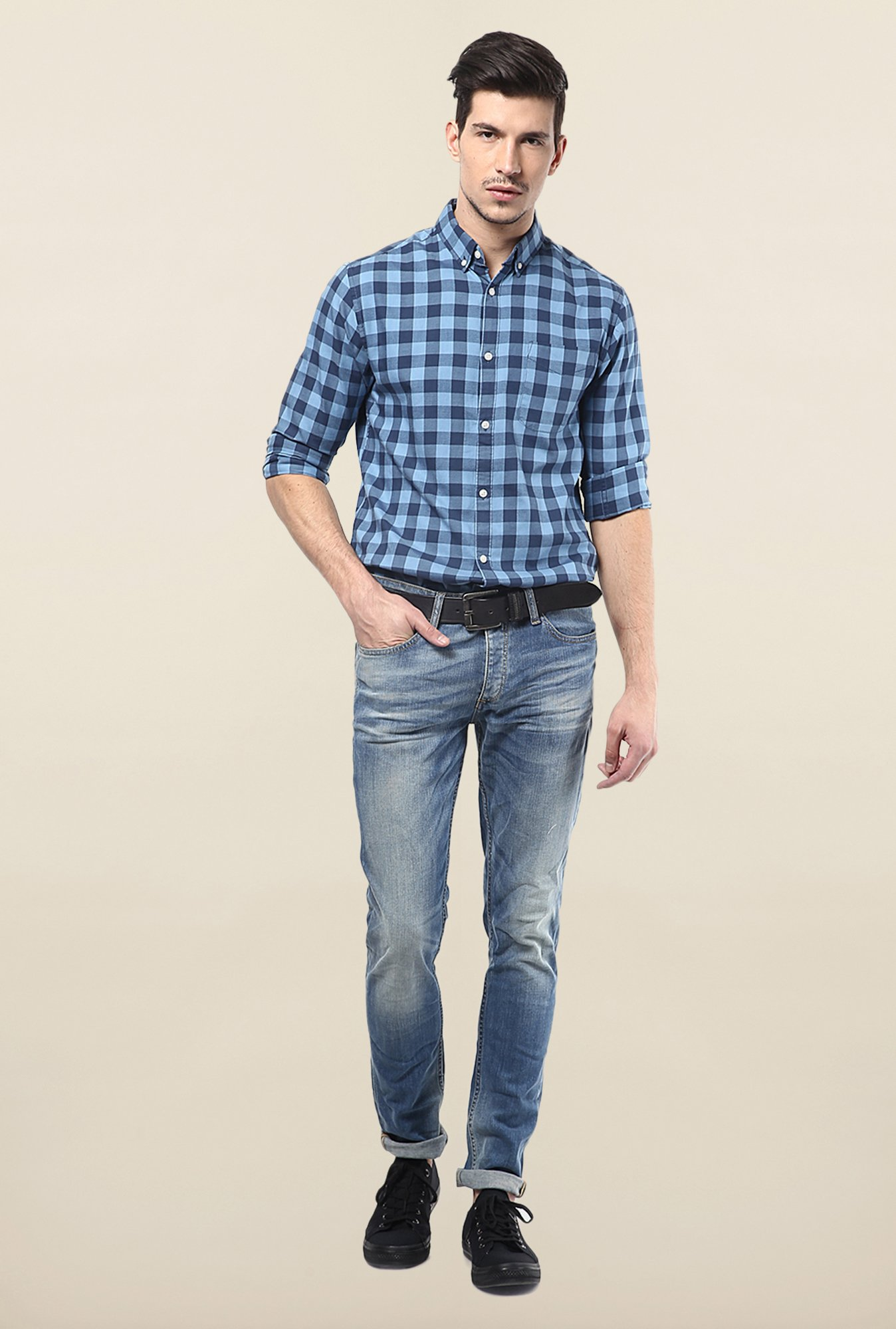 Jack & Jones Blue Button Down Checks Casual Shirt