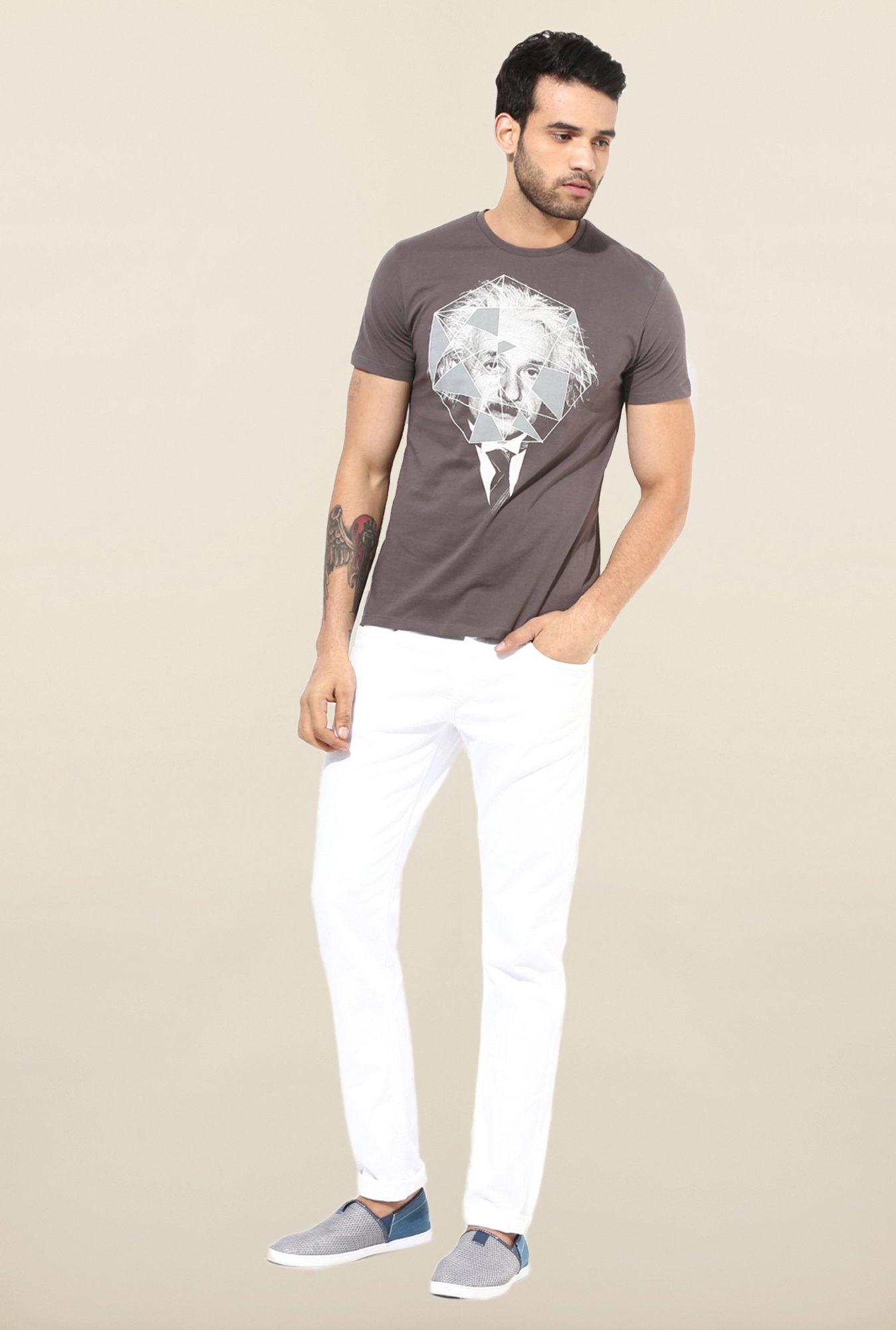 Jack & Jones White Solid Slim Fit Jeans