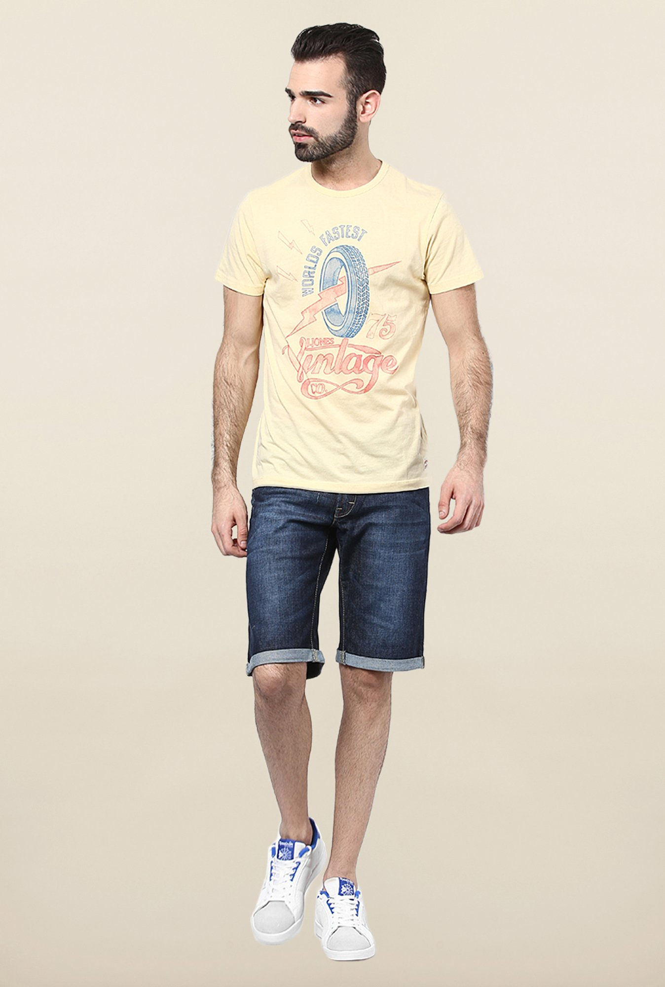 Jack & Jones Yellow Round Neck T-Shirt