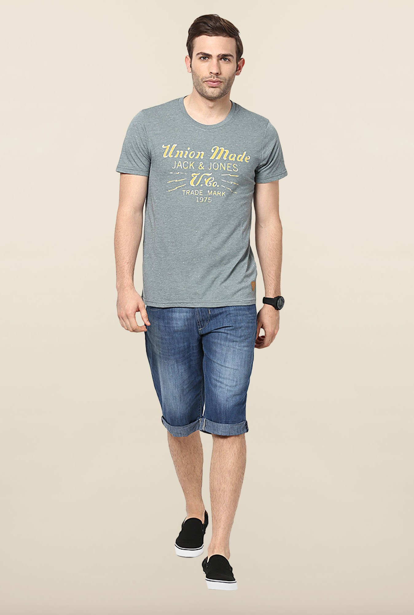 Jack & Jones Grey Printed T-Shirt
