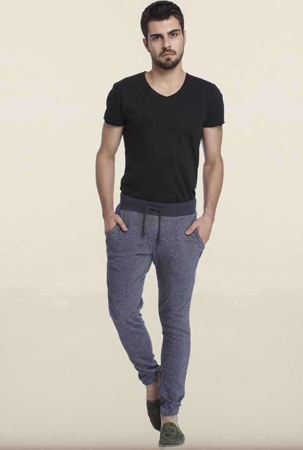 Jack & Jones Navy Solid Cotton Sweatpants