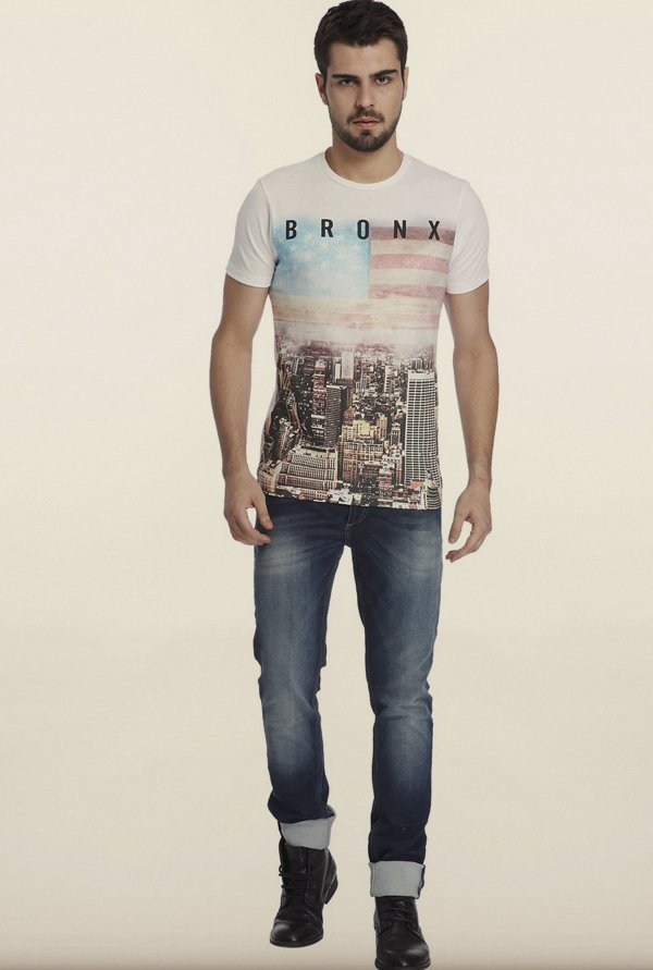 Jack & Jones White Graphic Printed Crew T-shirt