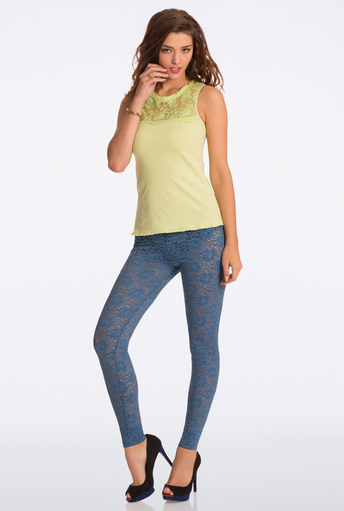 Pretty Secrets True Blue All Day Lace Leggings