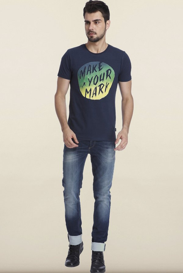 Jack & Jones Navy Printed Slim Fit T-shirt