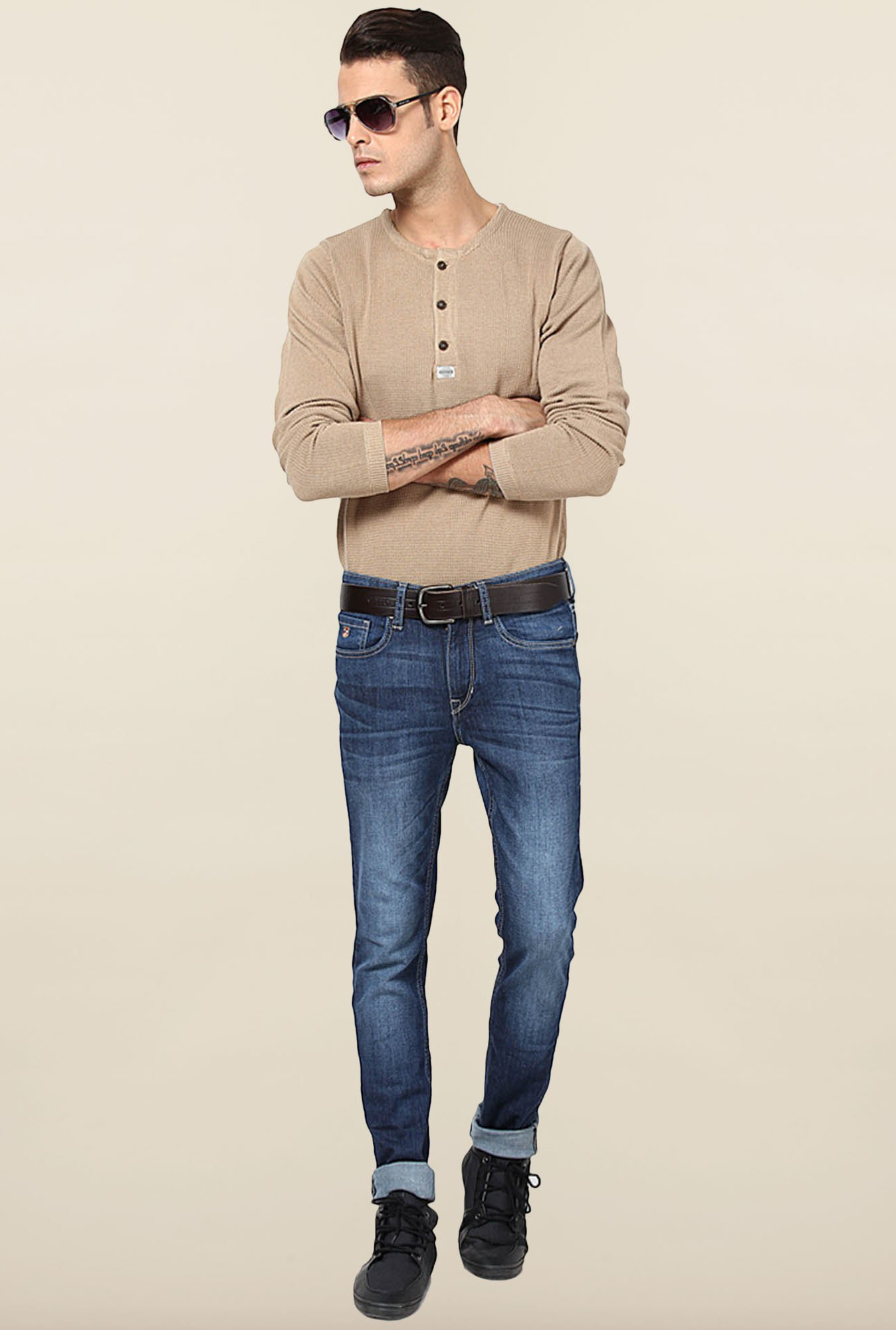 Jack & Jones Beige Solid Sweatshirt