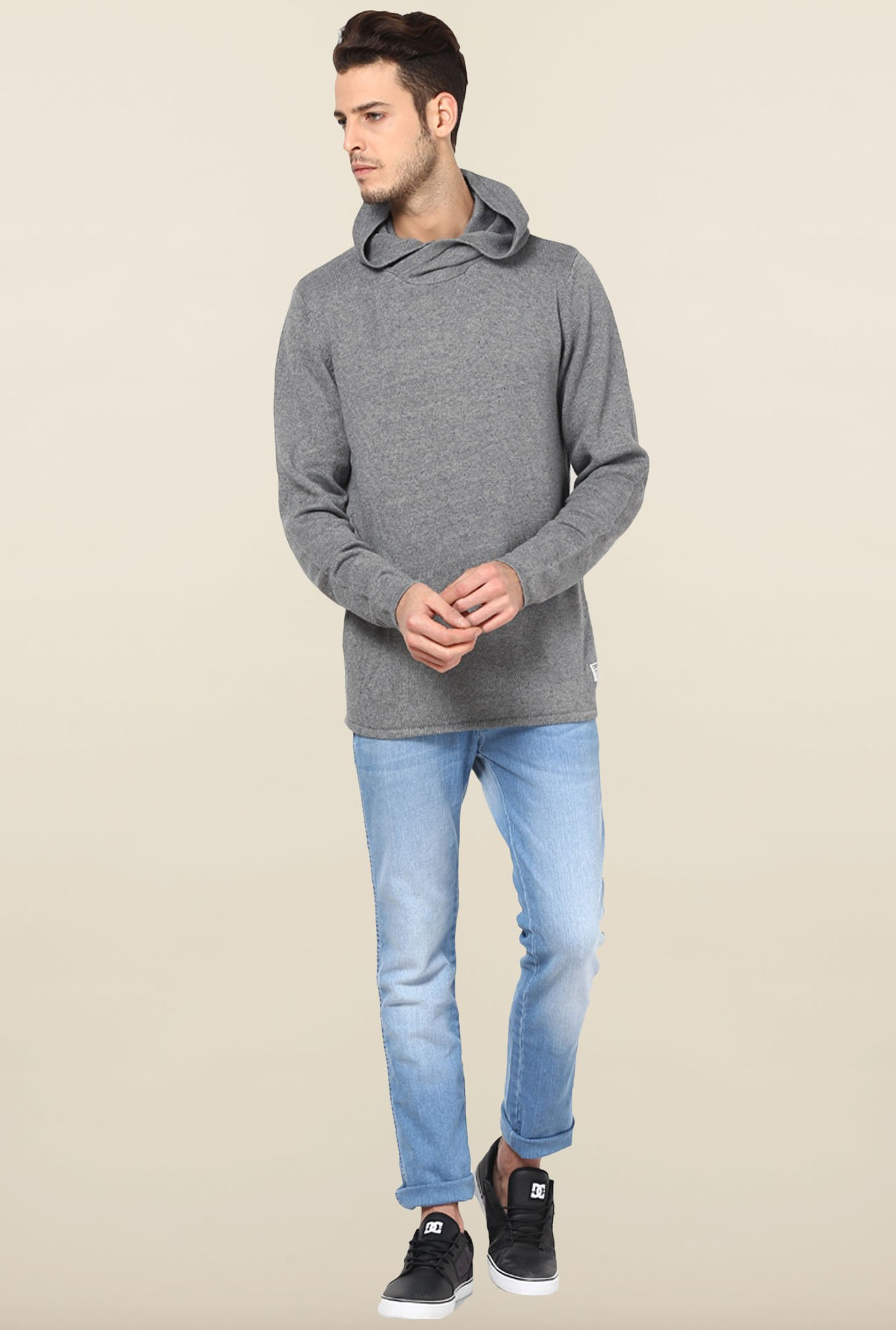 Jack & Jones Grey Solid Hoodie
