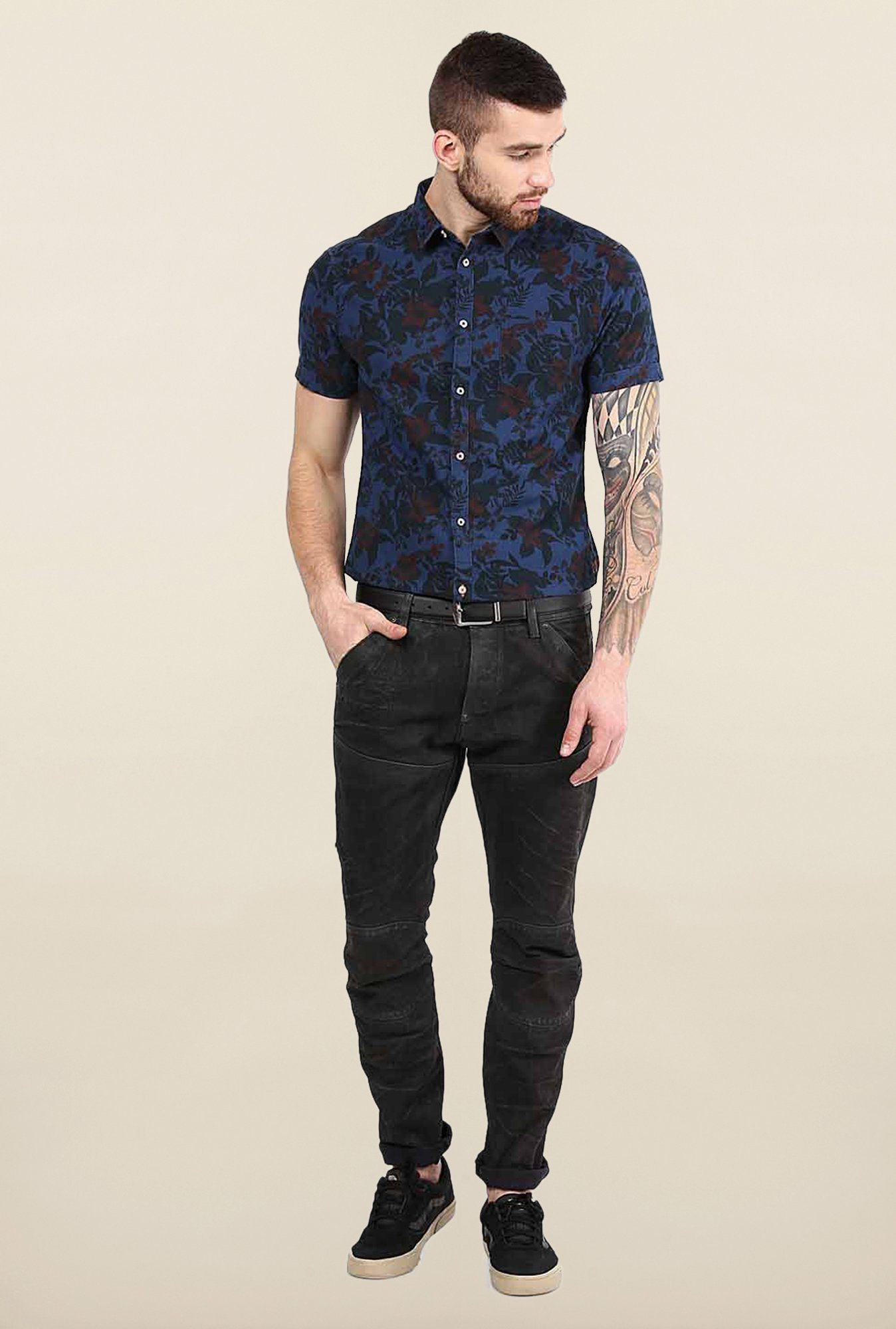 Jack & Jones Dark Blue Floral Print Casual Shirt