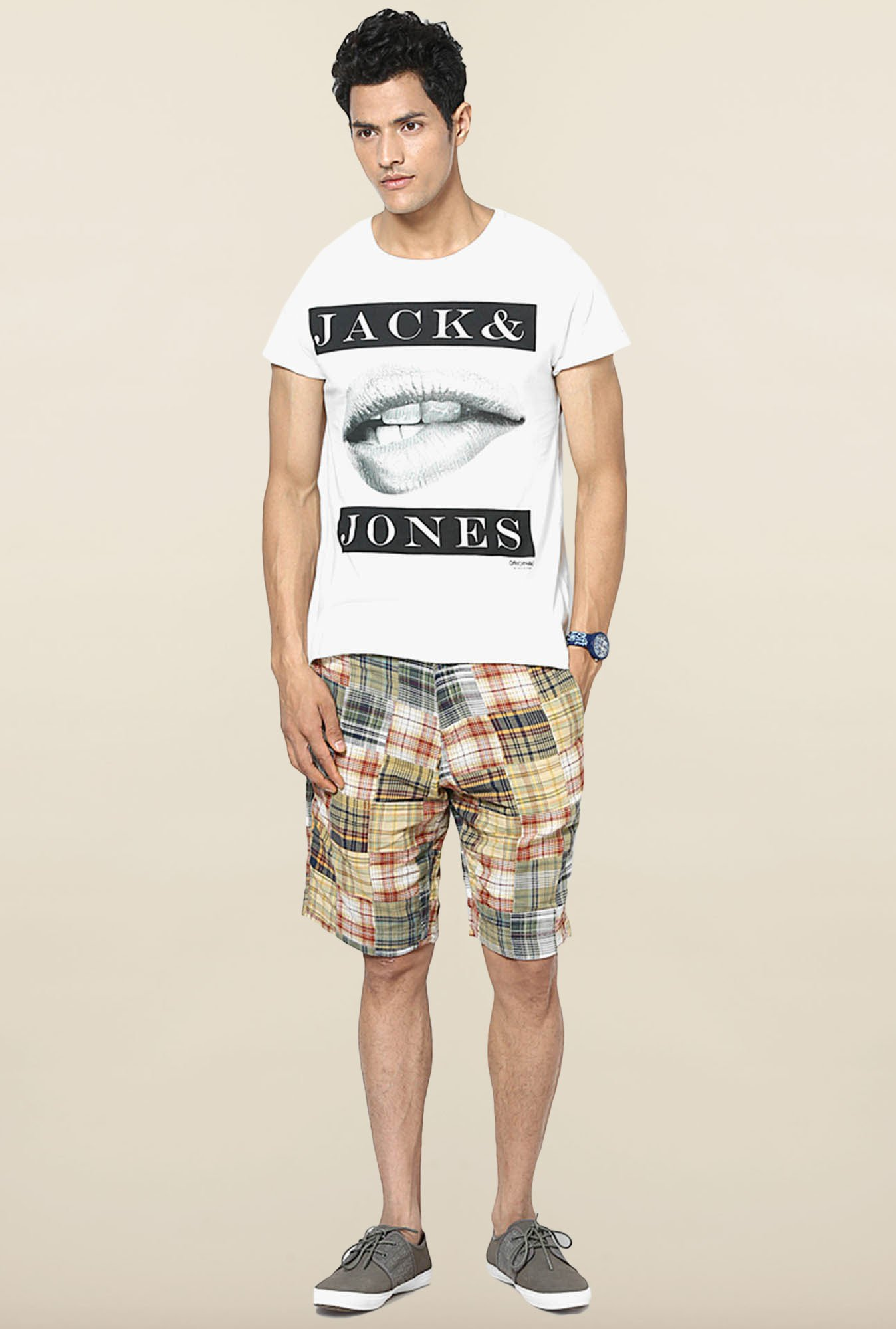 Jack & Jones White Round Neck Printed T-Shirt
