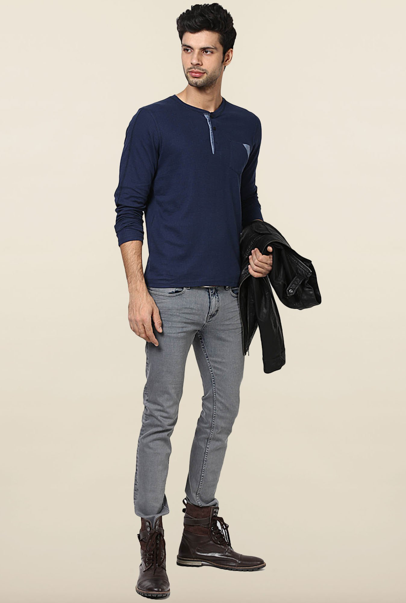 Jack & Jones Navy Henley T-Shirt