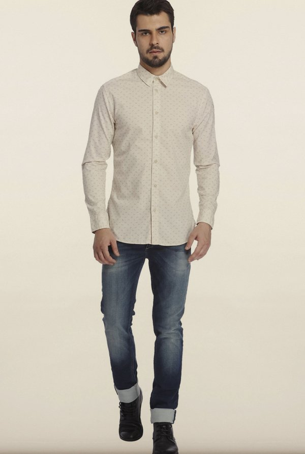 Jack & Jones Off-White Printed Casual Shirt