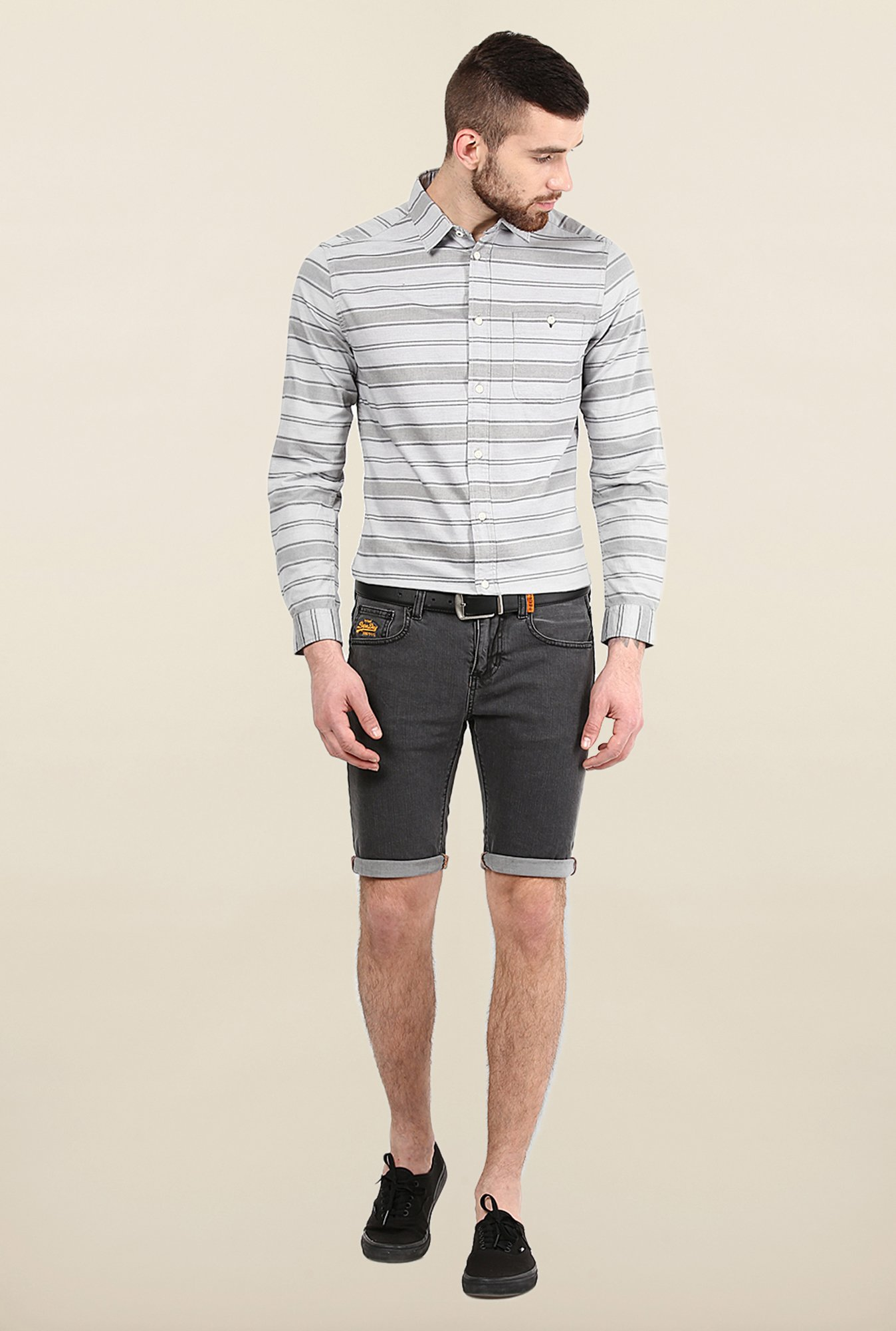 Jack & Jones Grey Striped Casual Shirt