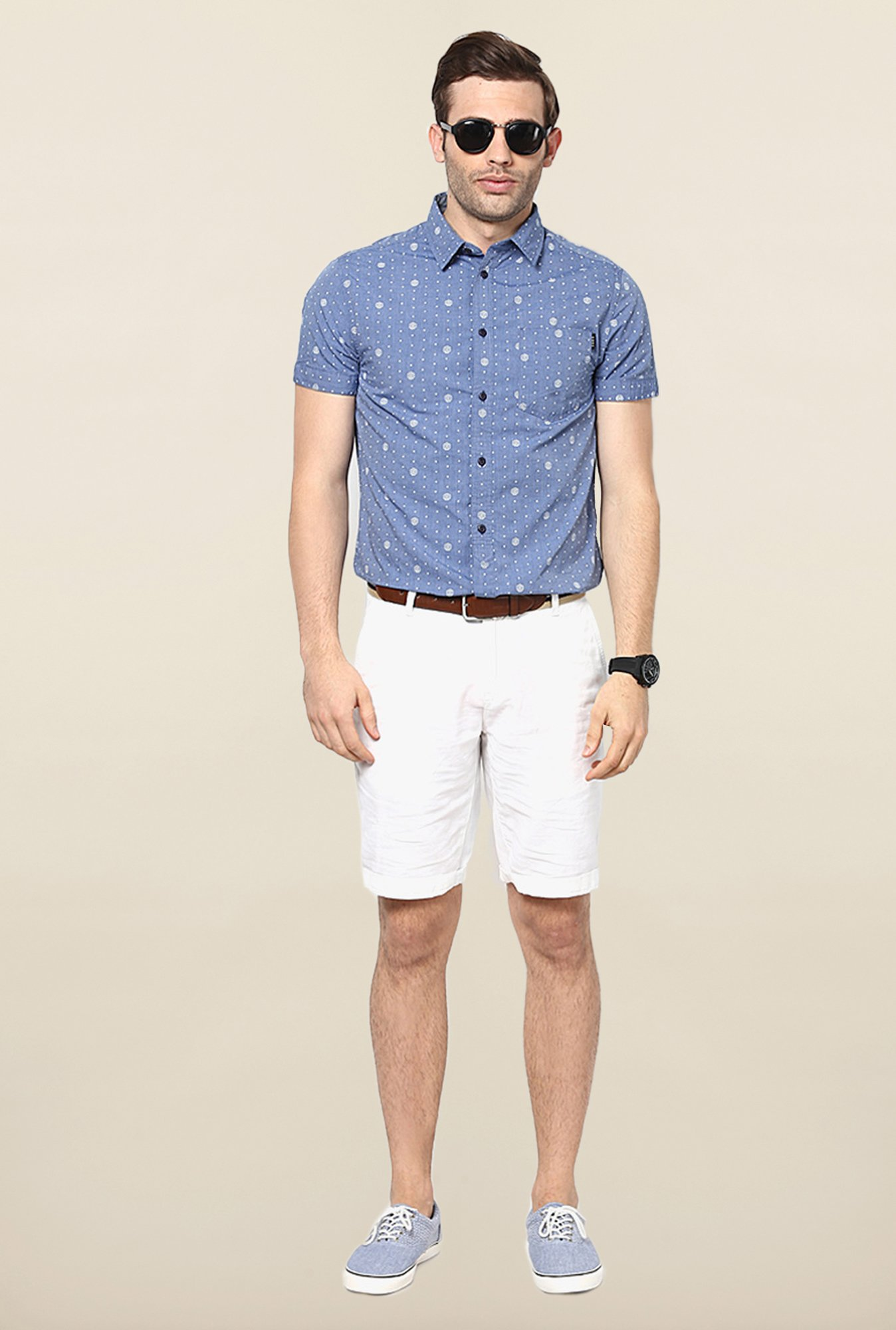 Jack & Jones Blue Printed Short Sleeves Shirt