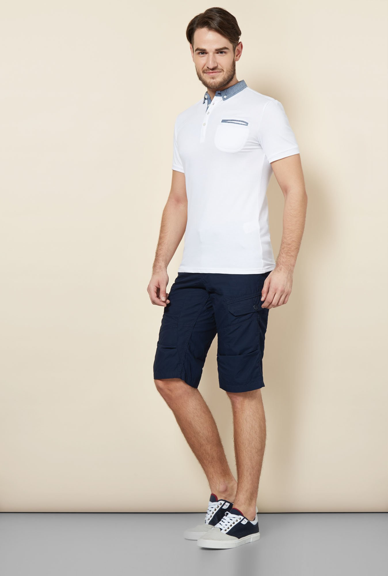 celio* Navy Solid Cotton Shorts