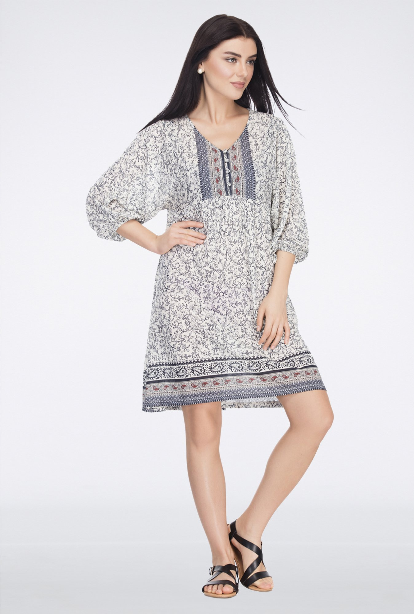 Femella Off White Printed Jersey Shift Dress